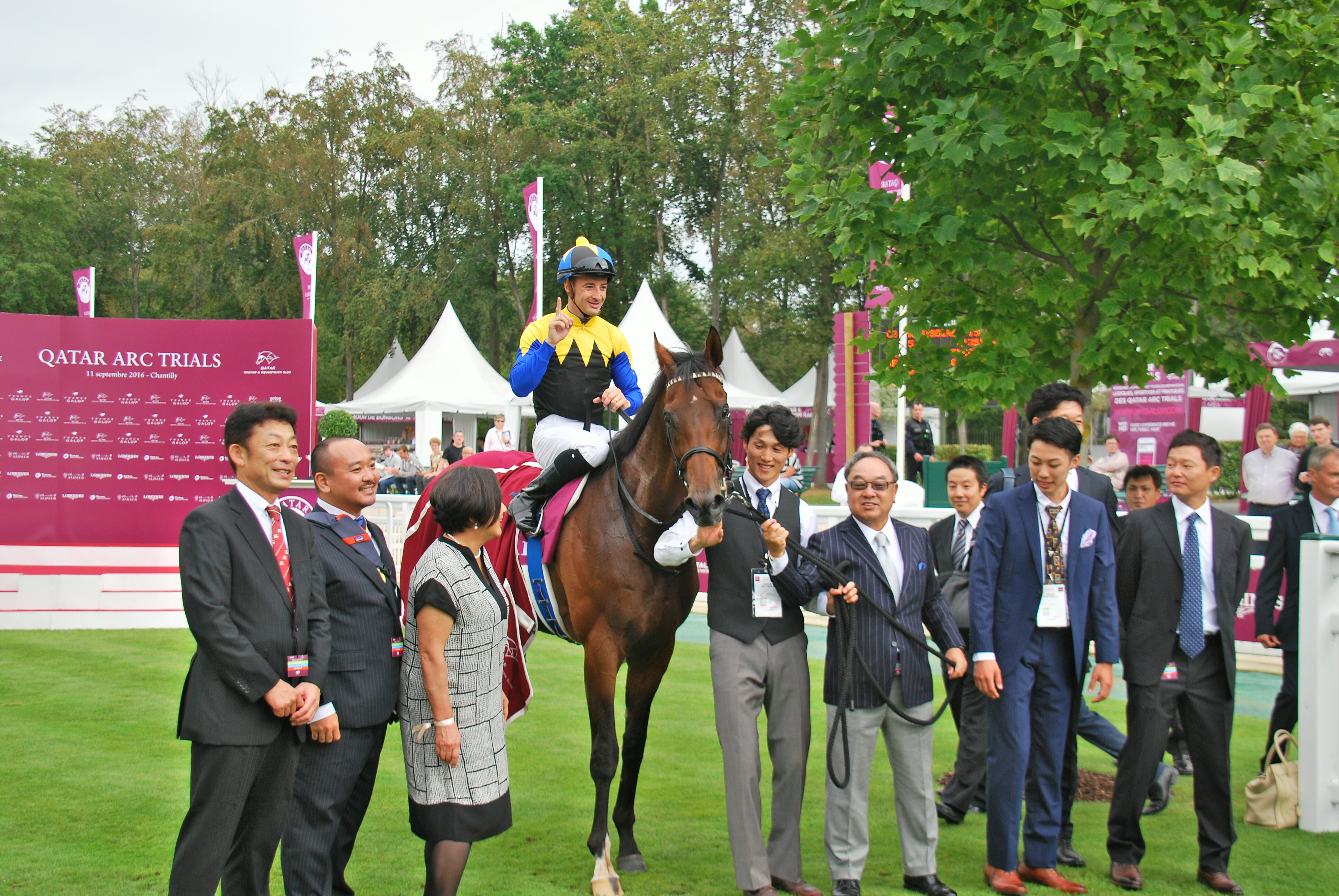 Lemaire and Makahiki with connections after the colt's win in the Prix Niel at Chantilly last month. Photo: John Gilmore