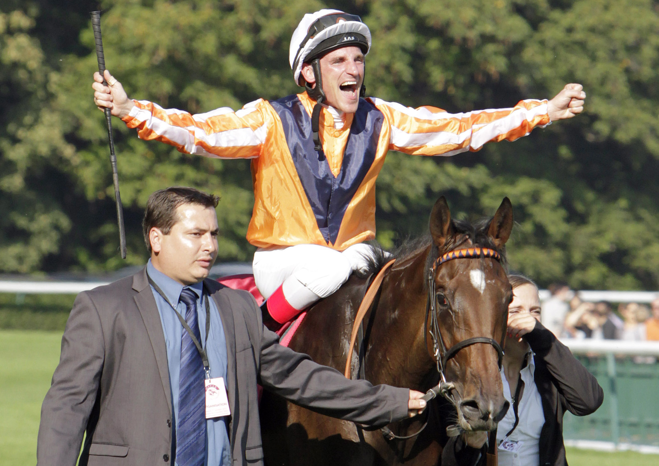 Arc triumph: eight-time German champion jockey Andrasch Starke and Danedream after their victory at Longchamp in 2011. Photo: Michele MacDonald