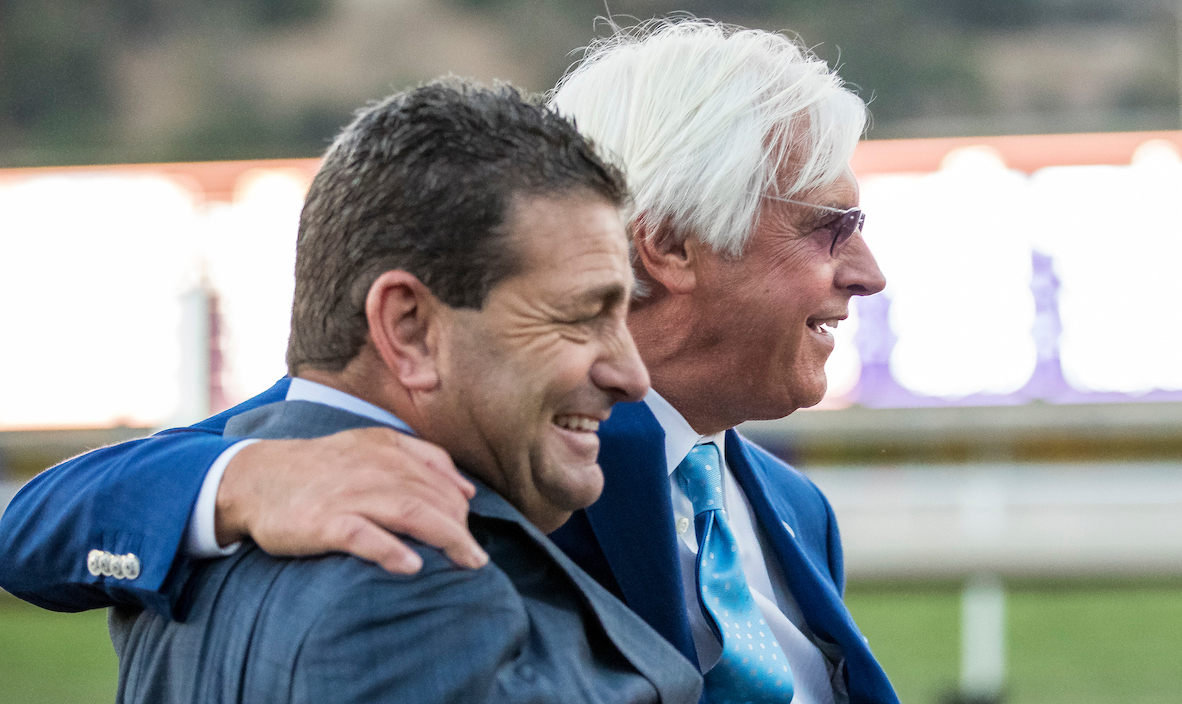 Baffert and assistant Jimmy Barnes soak it all up after Arrogate's Classic victory. Photo: Alex Evers/Eclipse Sportswire/Breeders' Cup