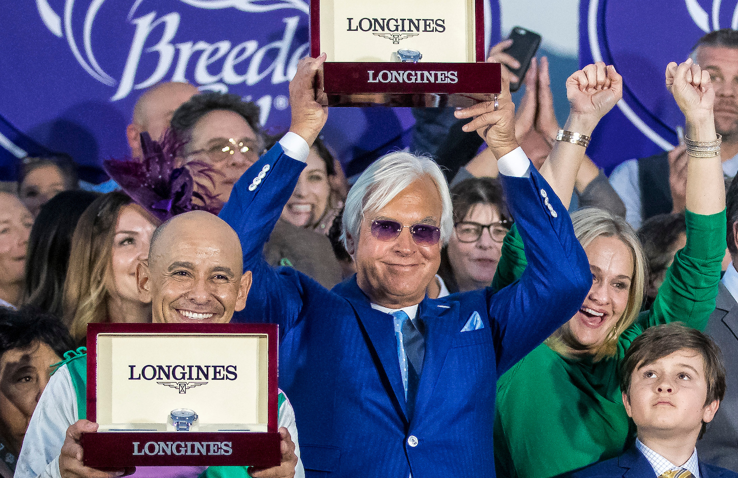 Supreme achievement: Bob Baffert, Mike Smith share the joy after the presentation. Photo: Alex Evers/Eclipse Sportswire/Breeders' Cup