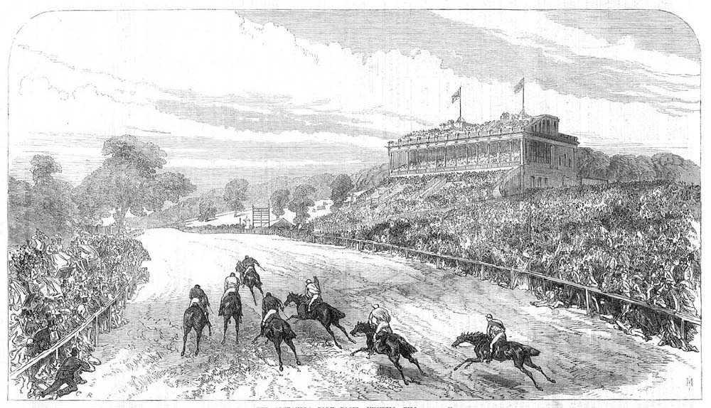 The Victorian grandstand of Alexandra Park Racecourse. Image: The Illustrated London News, 11 July 1868