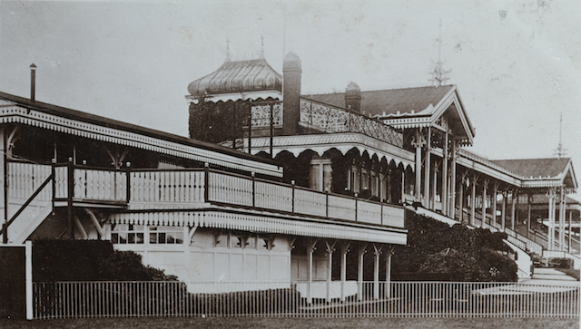 The ornate stands of Hurst Park, which operated from 1890 until the lands was developed for housing in the 1960s. Image courtesy of Timothy Cox