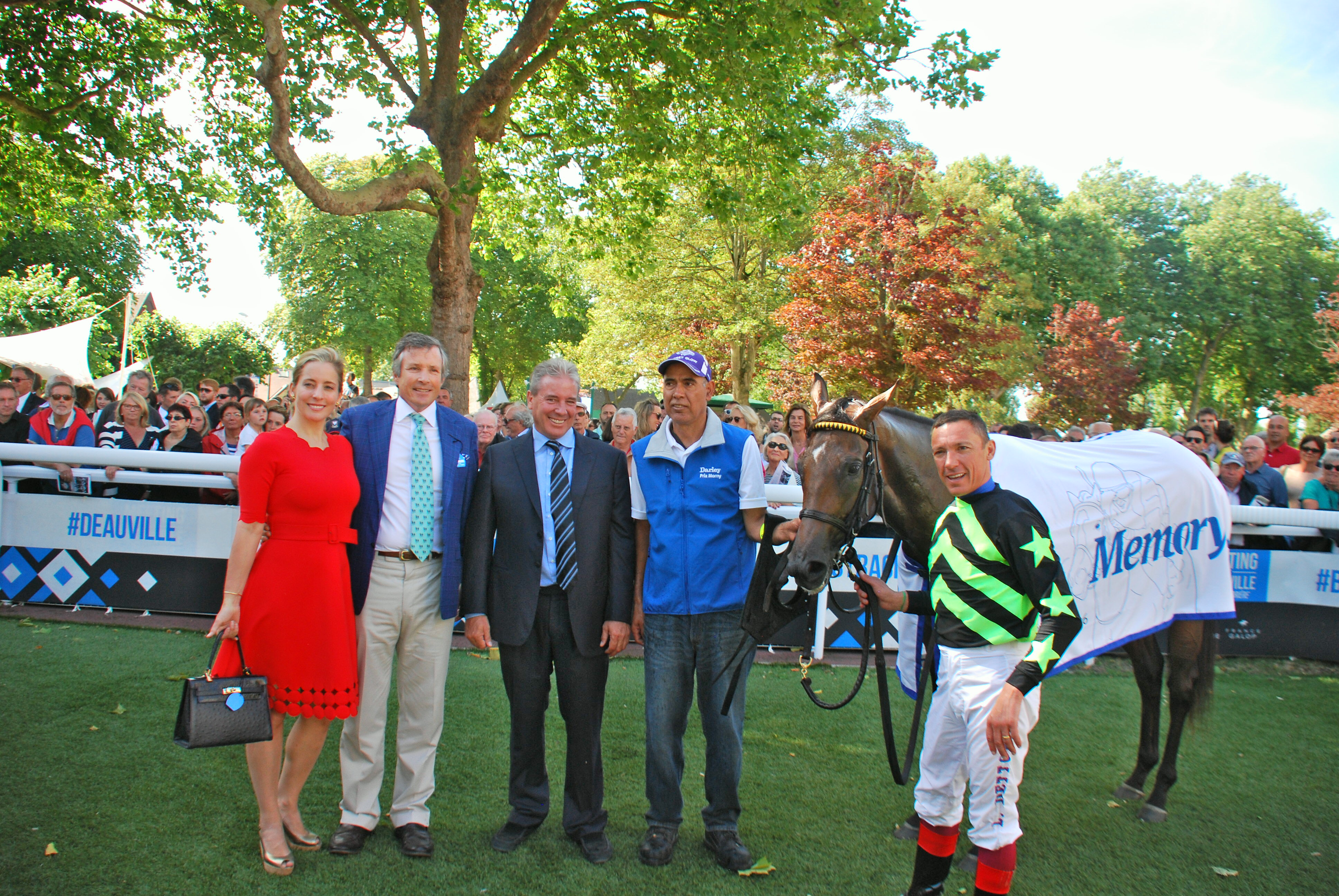 Special moment: Lady Aurelia and Frankie Dettori with winning connections after the Prix Morny. Peter Leidel and his wife are on the left, alongside trainer Wesley Ward.  Photo: John Gilmore