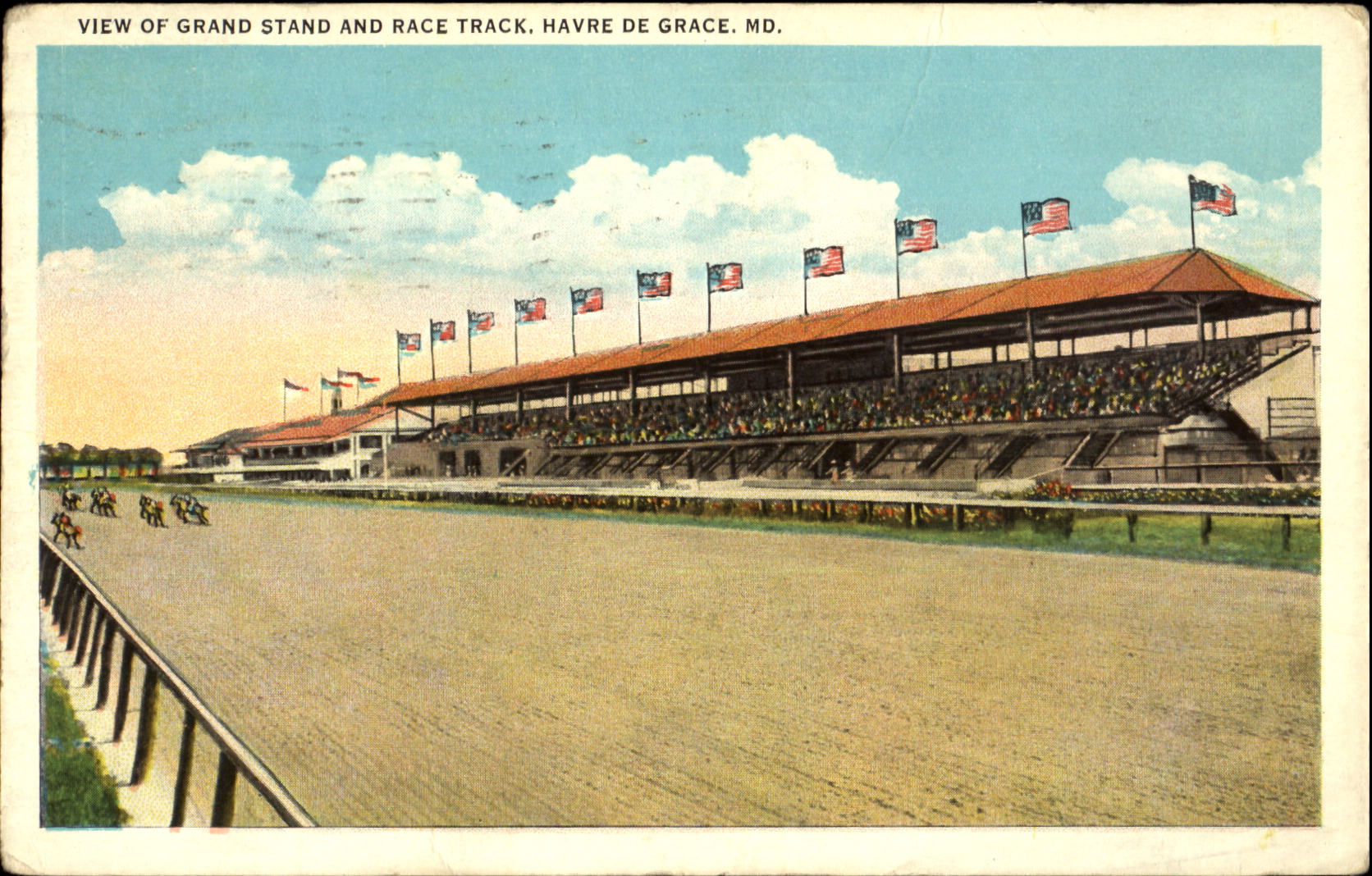 A postcard depicting Havre de Grace racetrack in the 1930s. The track operated from 1912 to 1952