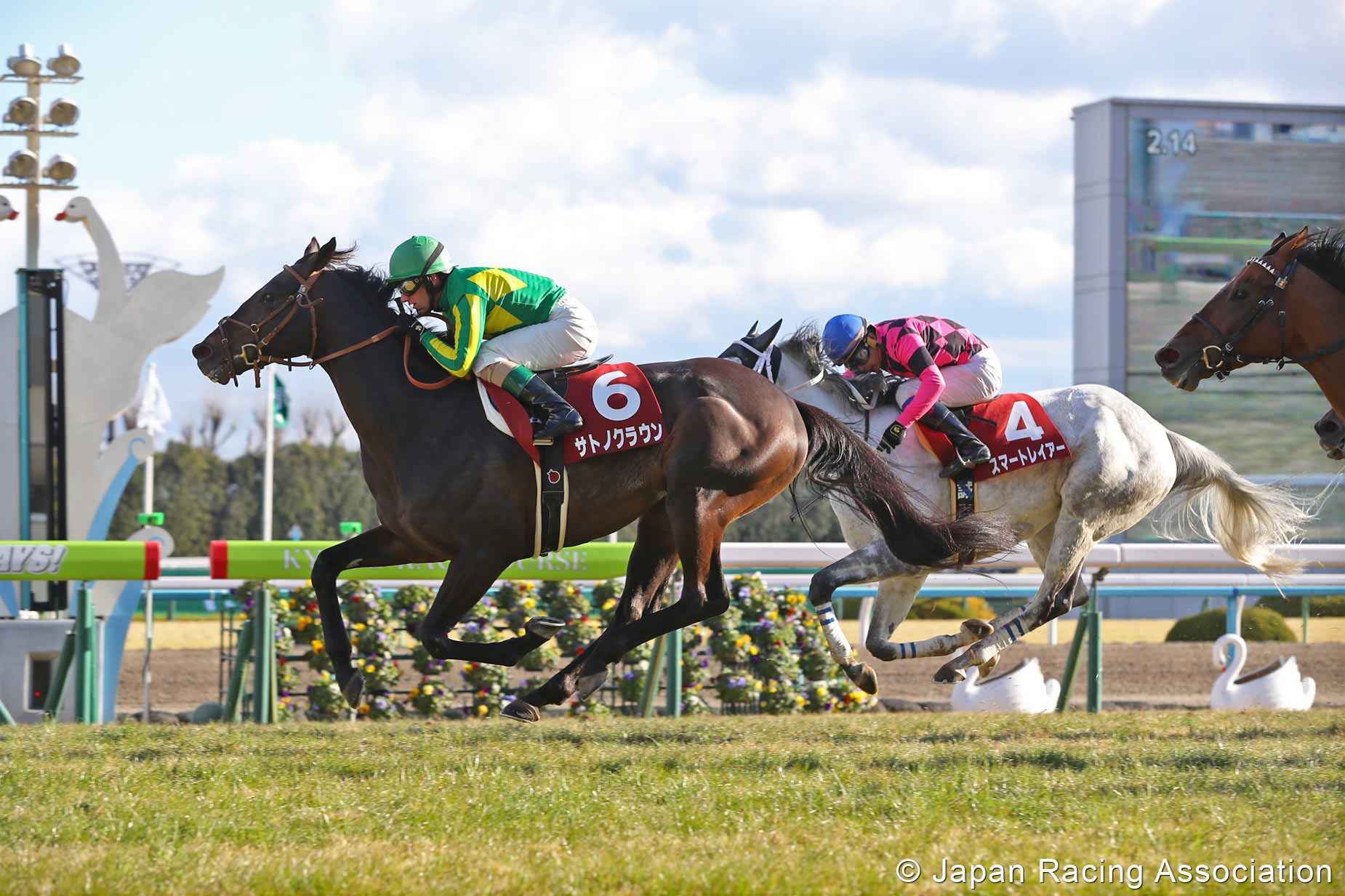 Best of the week: Satono Crown (Mirco Demuro) puts up the highest-rated performance in the G2 Kyoto Kinen. Photo: Japan Racing Association