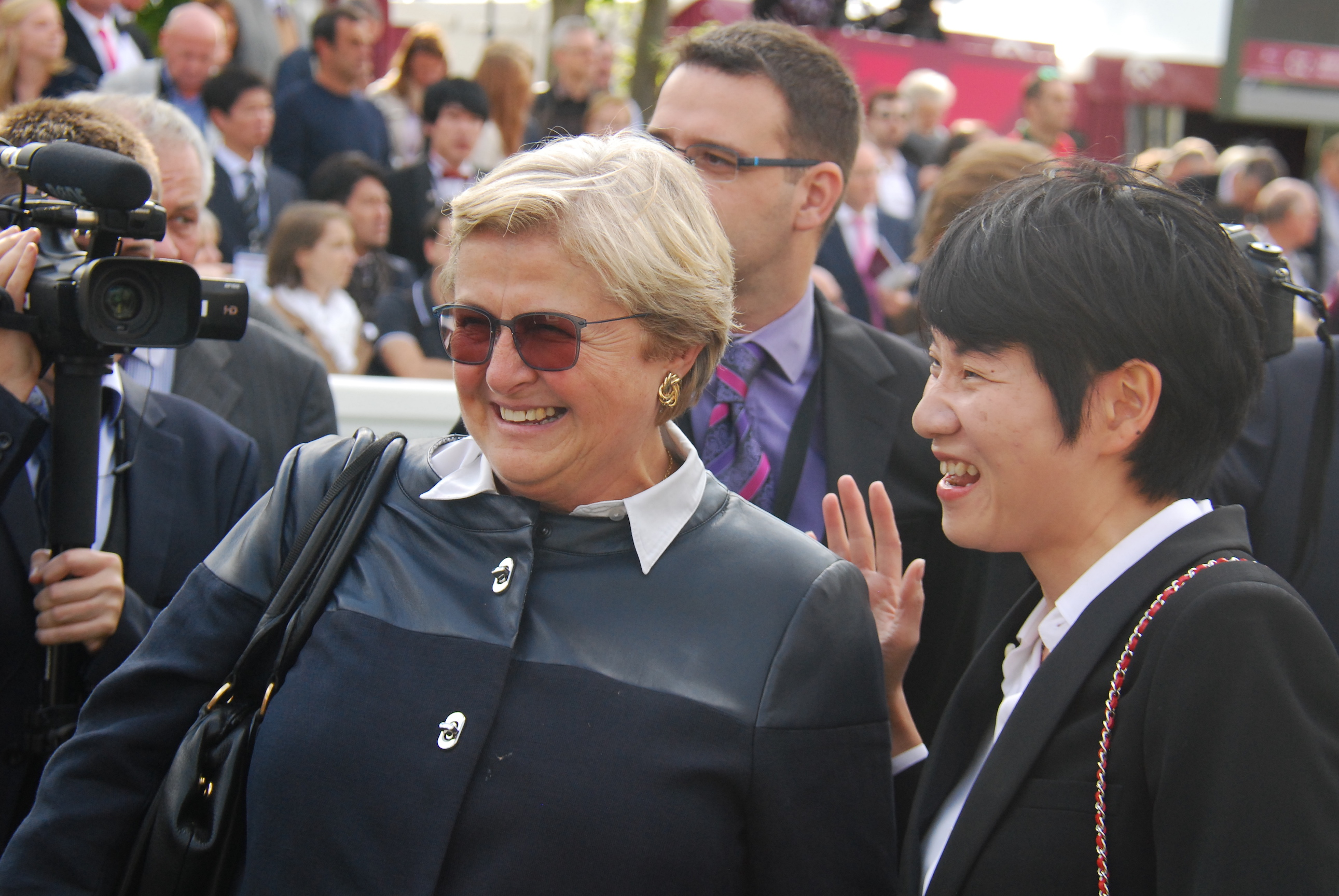 Criquette Head-Maarek and Sun Bloodstock's Danielle Cheng in the winners' enclosure after National Defense's Arc Day victory. Photo: John Gilmore