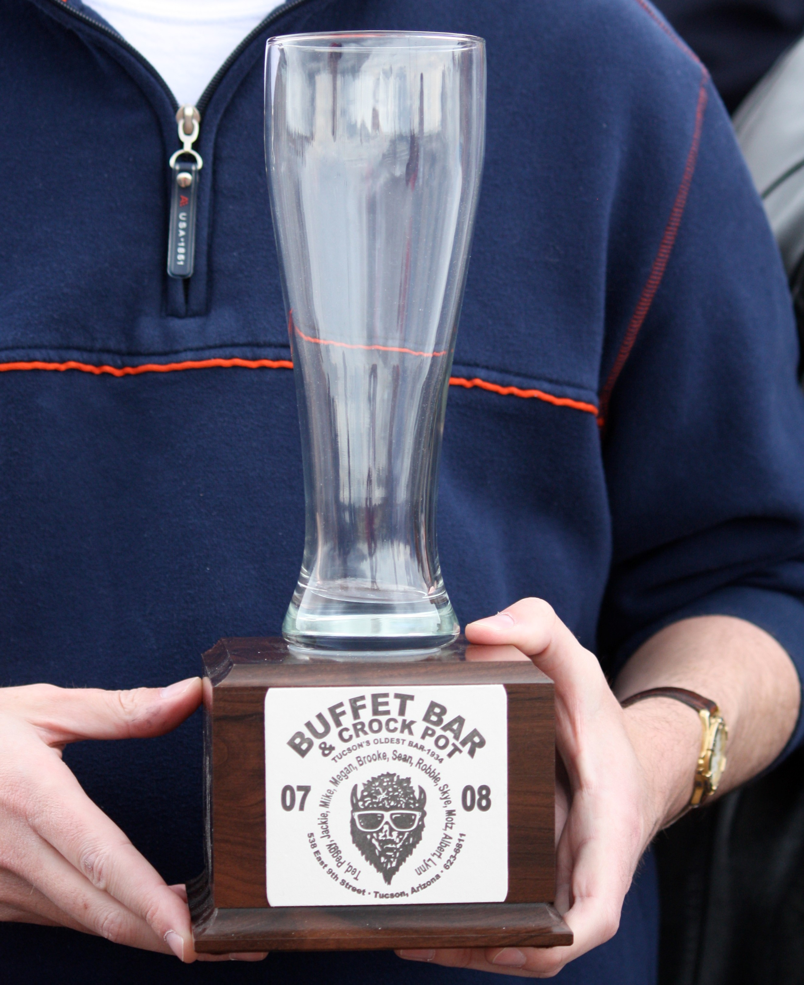 Unique: the trophy for the winner of the Pete Selin Happy Minute Memorial Stakes