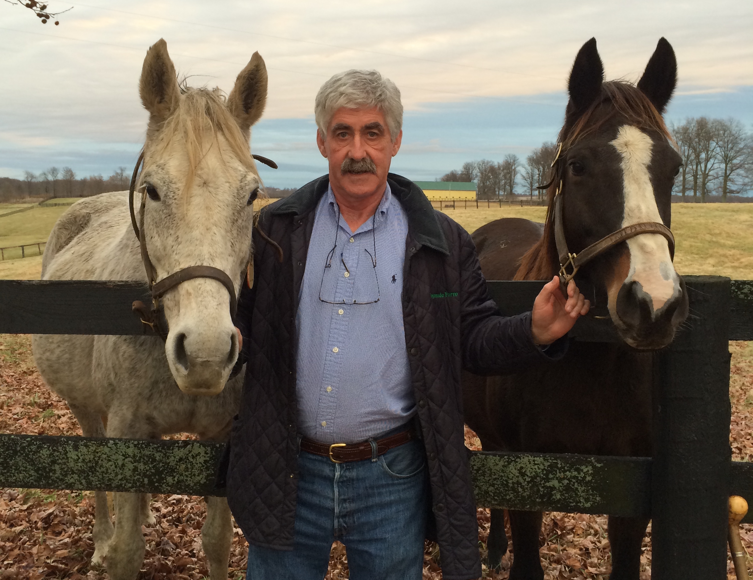 Martin O'Dowd at Runnymede Farm with Night Edition (left, dam of G1 winner Jaycito) and Alcina