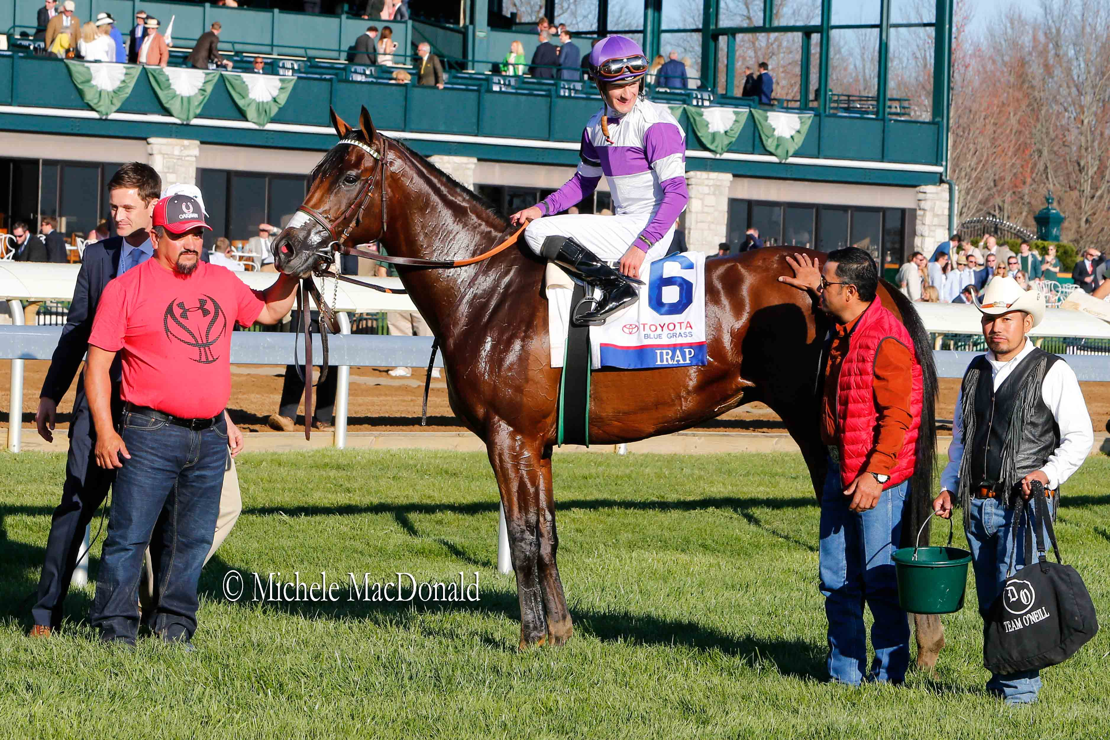 Strong specimen: Irap with members of Team O'Neill after his Blue Grass victory at Keeneland. Photo: Michele MacDonald