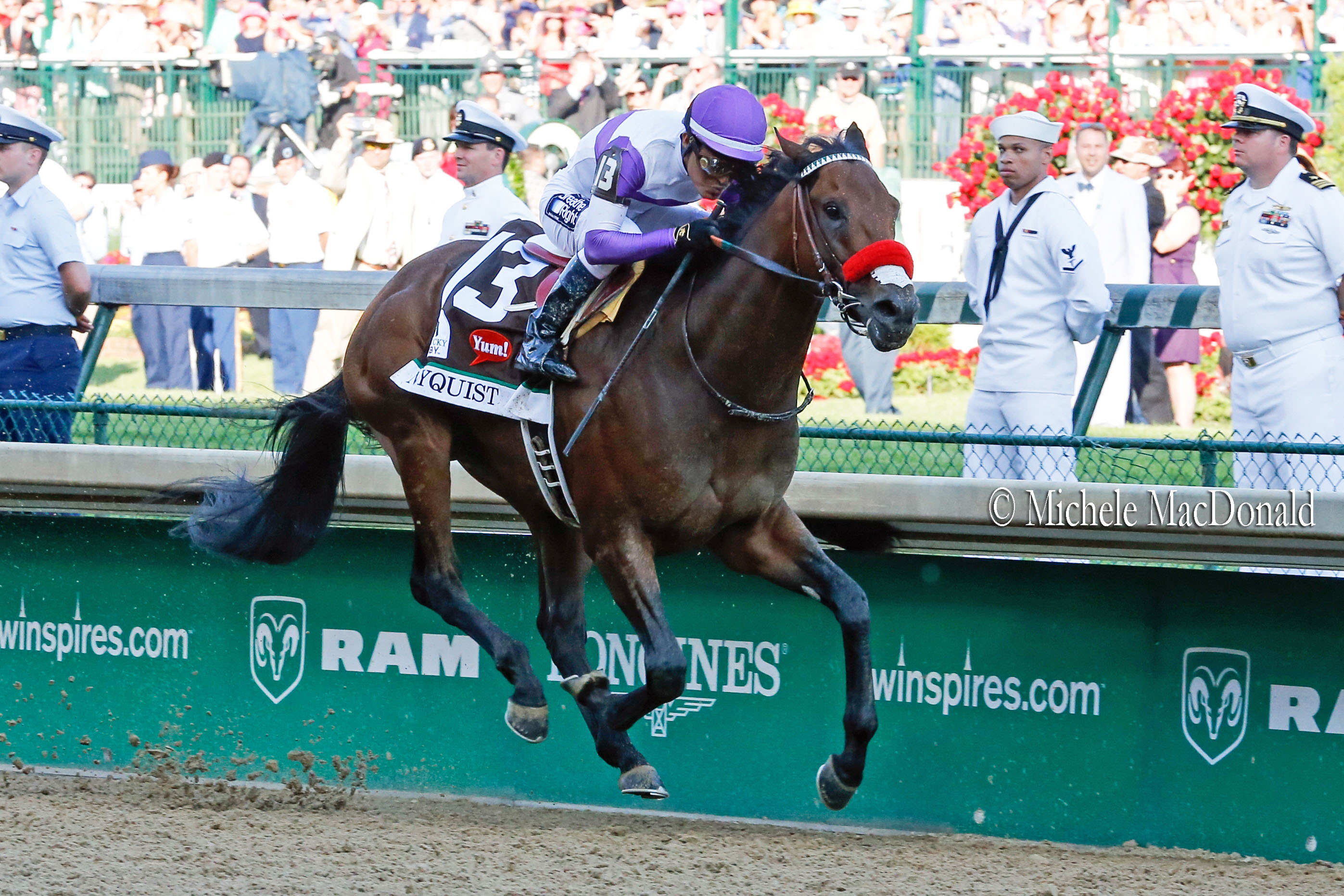 Nyquist powers home to Kentucky Derby glory at Churchill Downs last year. Photo: Michele MacDonald