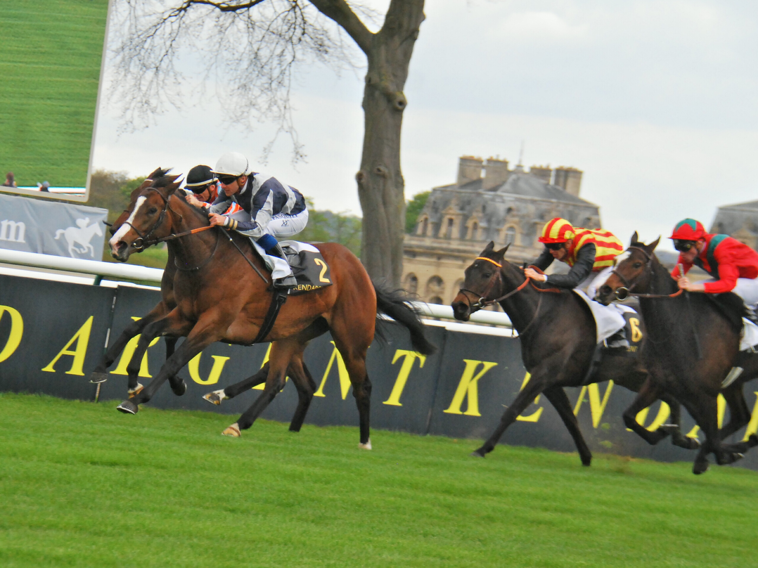Likely Pouliches favourite Senga (Stephane Pasquier) wins the Prix de la Grotte at Chantilly. Photo: John Gilmore