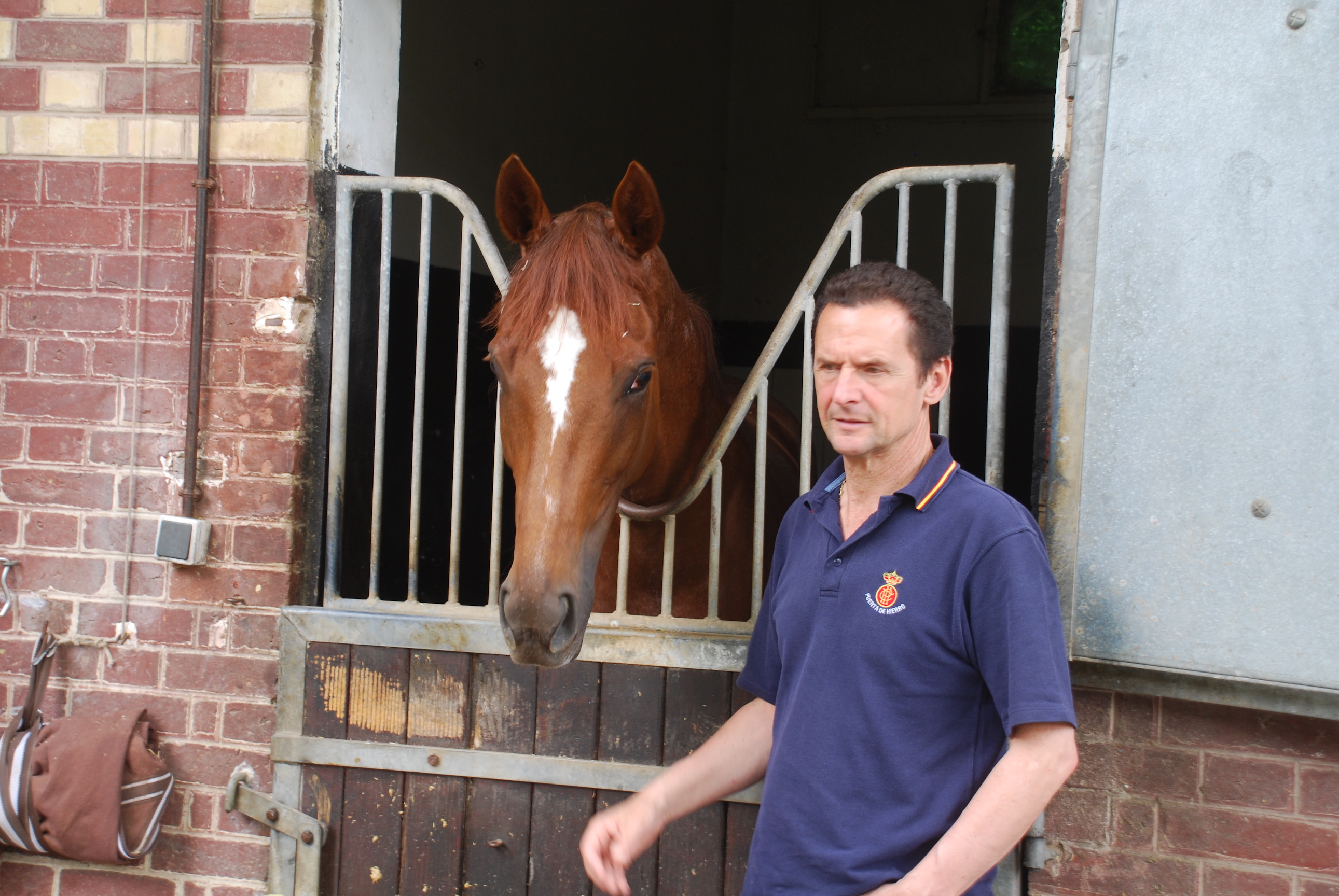 Carlos Laffon-Parias with Prix Vermeille winner Left Hand at his stables at Chantilly. Photo: John Gilmore