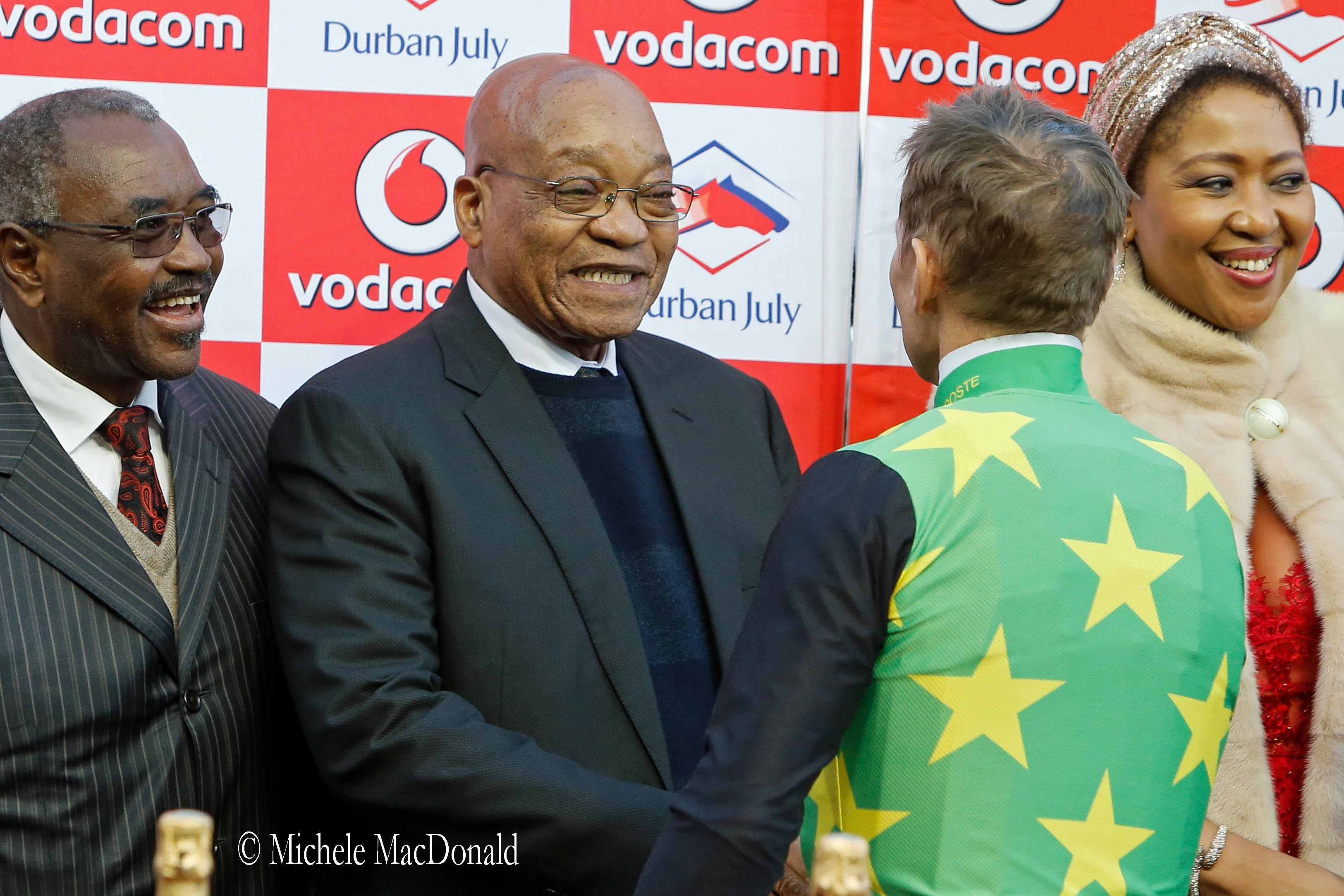 South African President Jacob Zuma was greeted by choruses both of cheers and catcalls at last year's presentations. Here is meets Pierre Strydom. Photo: Michele MacDonald
