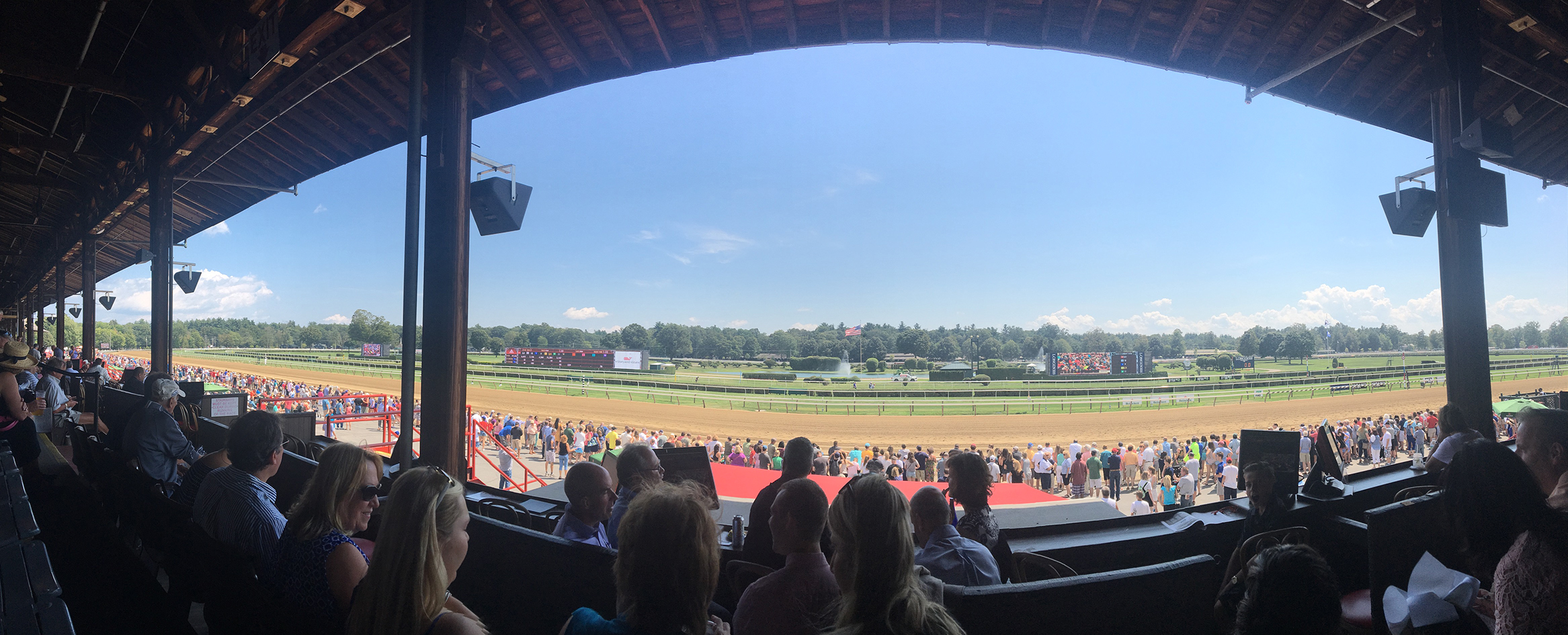Panoramic image of Saratoga Springs race track. Photo: Robert Sage