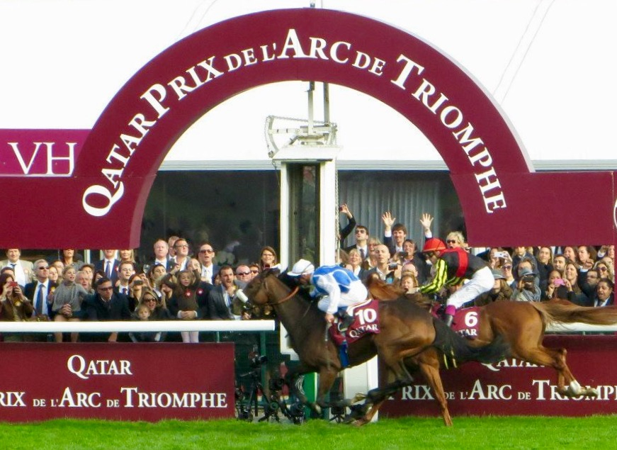 Arc heartbreak: Orfevre (Christophe Soumillon) can't quite peg back to Solemia (Olivier Peslier) in the 2012 edition at Longchamp. Photo: Amanda Duckworth