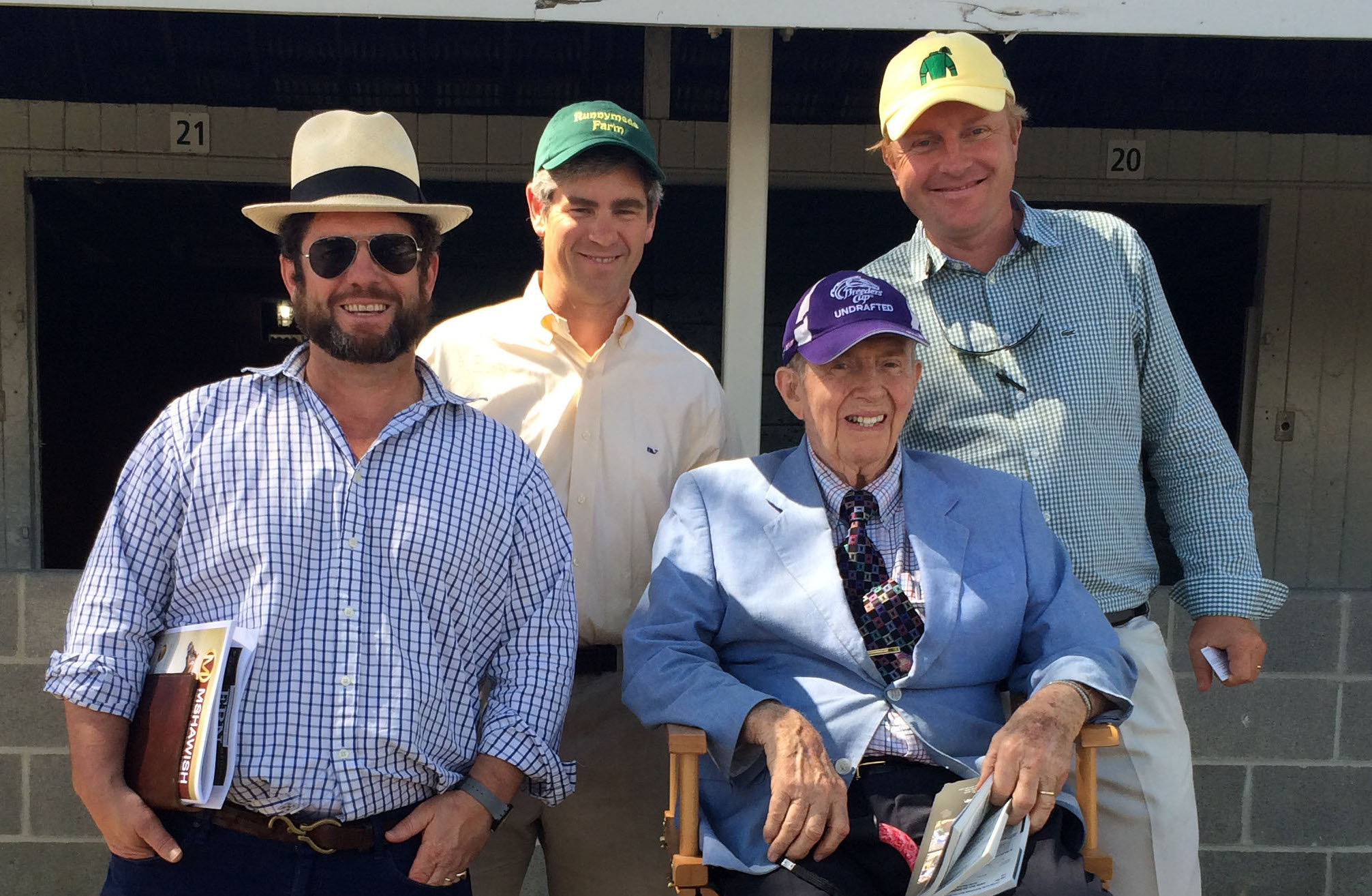 The men behind Runnymede Farm: from left, Joe Clay (a brother of Brutus Clay), Chief Executive Brutus Clay, Catesby W. Clay and General Manager Romain Malhouitre during the recent Keeneland September yearling sale. Photo: Clay family