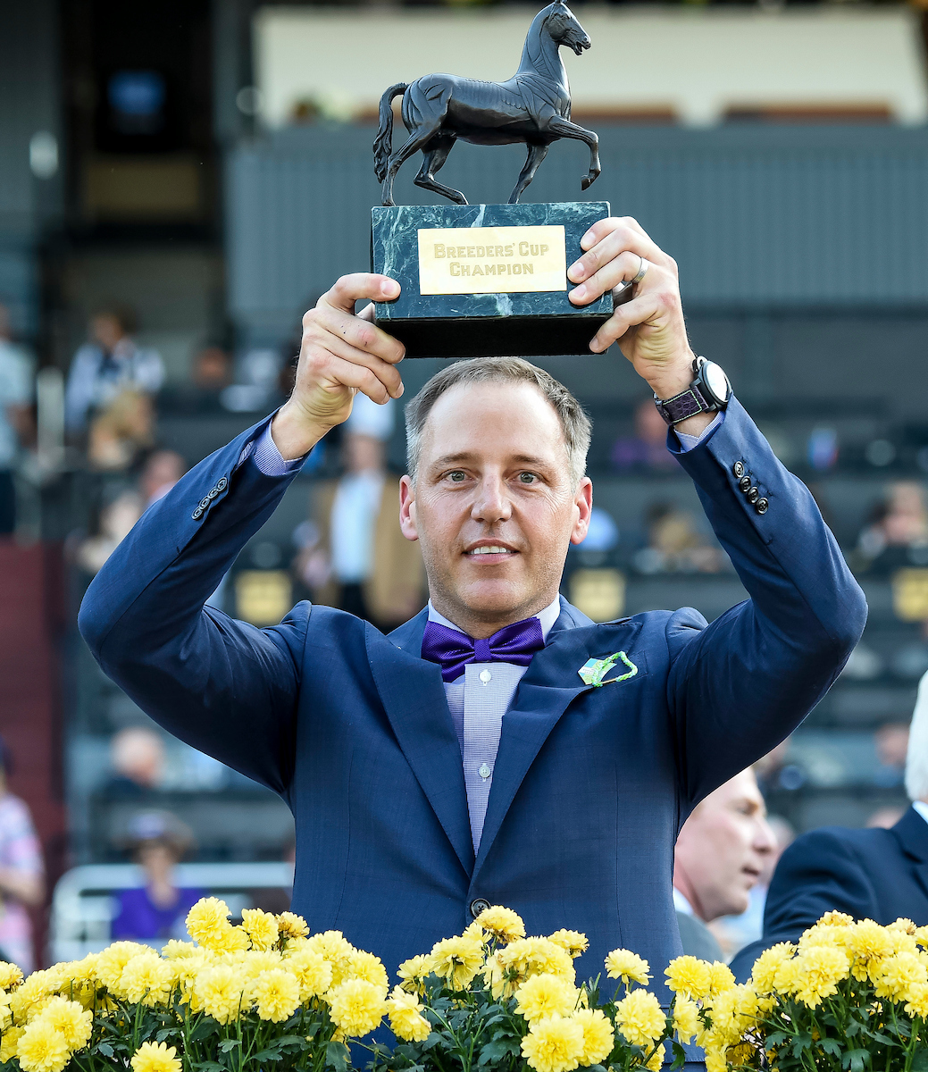 "Bob Edwards with the trophy after New Money Honey's victory at Santa Anita: ""It was unbelievable when we won,"" he says. ""We didn't know what to do."" Photo: Bob Mayberger/Eclipse Sportswire/Breeders' Cup"