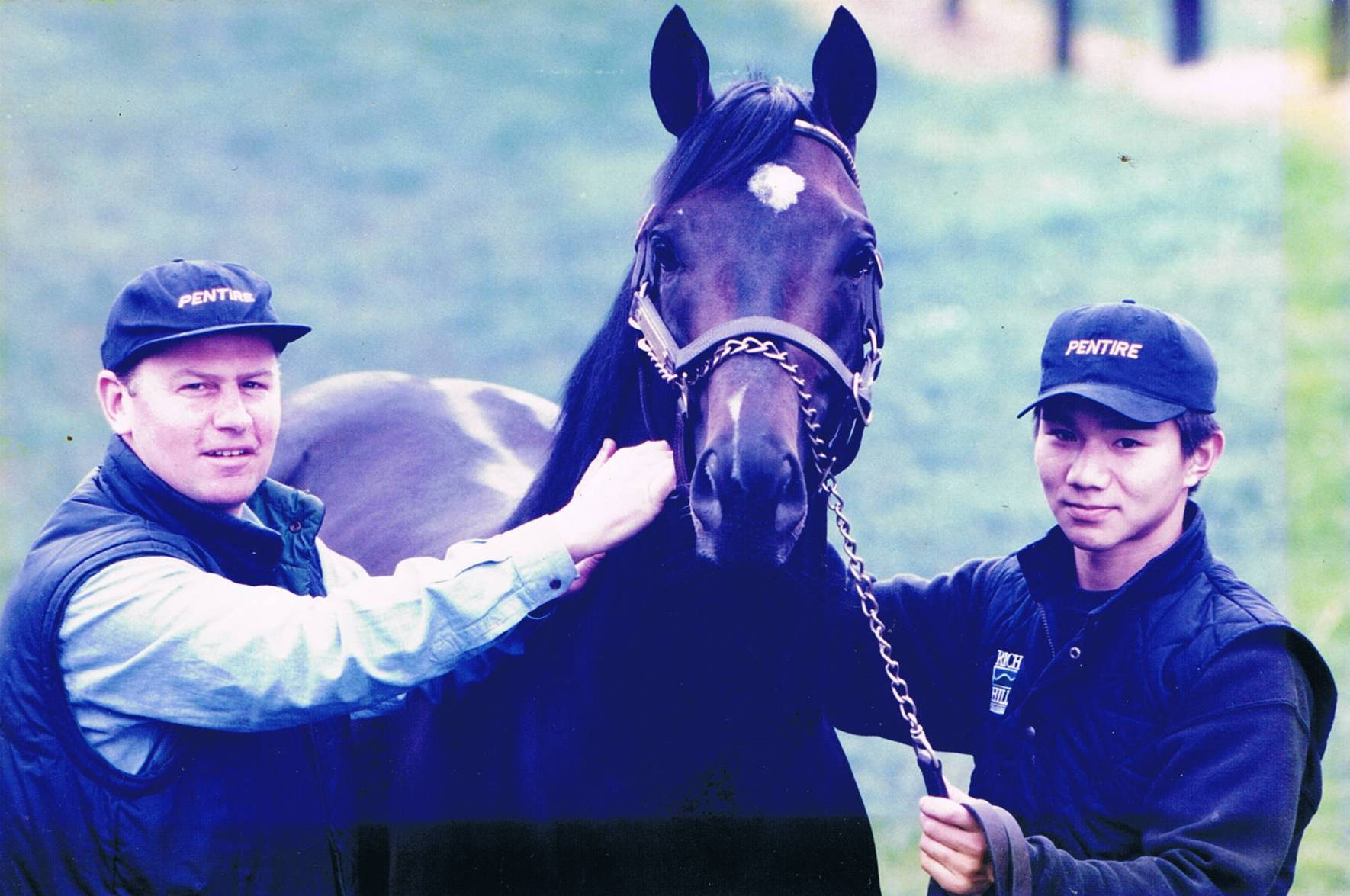 John Thompson with Pentire and Japanese groom Naoki Sakota soon after the stallion's arrival at Rich Hill Stud