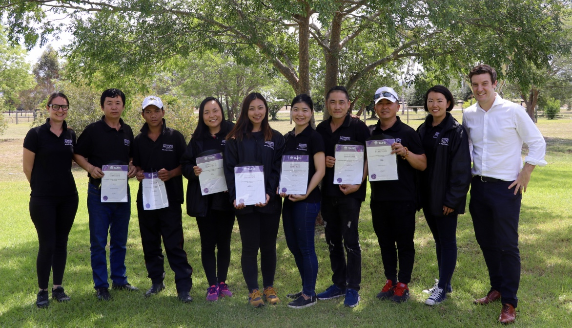 Successful conclusion: The interns pictured with their completion certificates at Scone TAFE. Photo: TBA