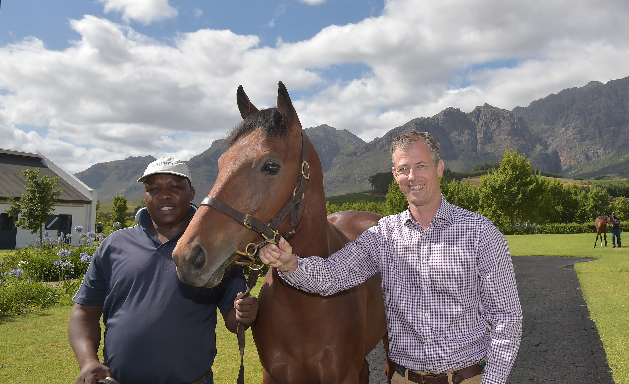 Outstanding horsemen: staff at Gaynor Rupert's beautiful Drakenstein Stud in the Western Cape. Photo: Hugh Routledge