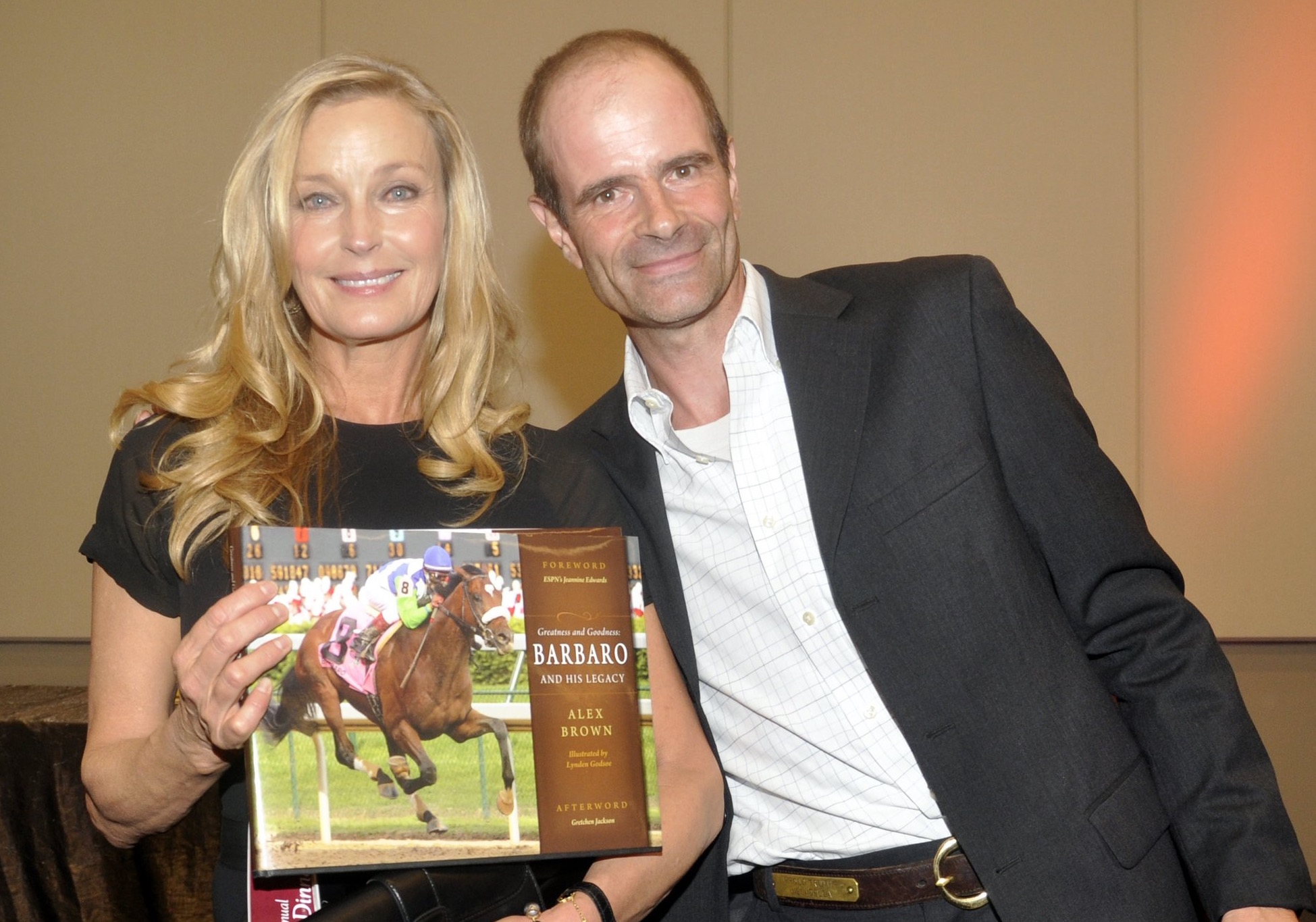 Bo Derek, the actress and former California Horse Racing Board member, with Alex Brown at the launch of his book on Barbaro