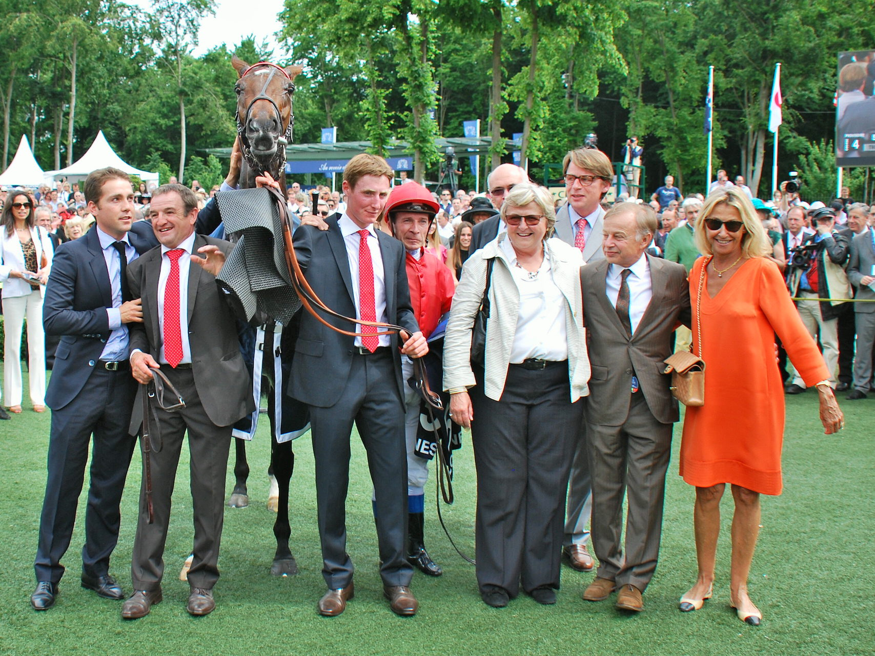 Pure joy: Treve, Criquette, brother Freddy (on Criquette's right), jockey Thierry Jarnet and other winning connections after the 2013 Prix de Diane at Chantilly. The filly was owned by Haras du Quesnay at the time but was then bought by Al Shaqab. Photo: John Gilmore