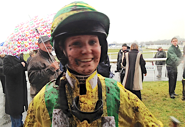 Mud-spattered but delighted: Rachel King after a victory over hurdles at Ludlow, England, in 2012. Photo: amateurjockeys.org.uk
