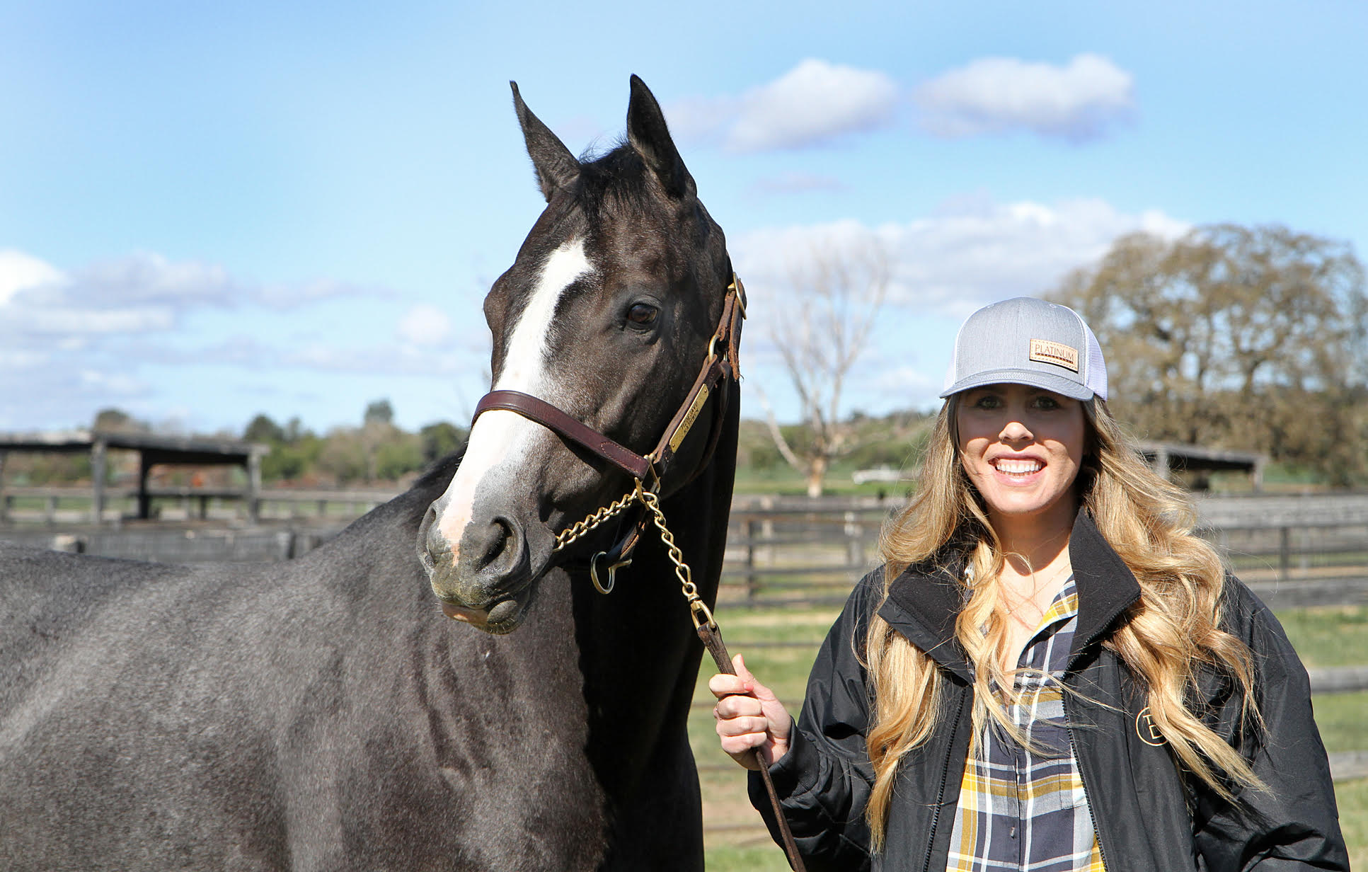 Kate Barton with homebred Shulace, who broke his maiden first time out. Photo: Emily Shields