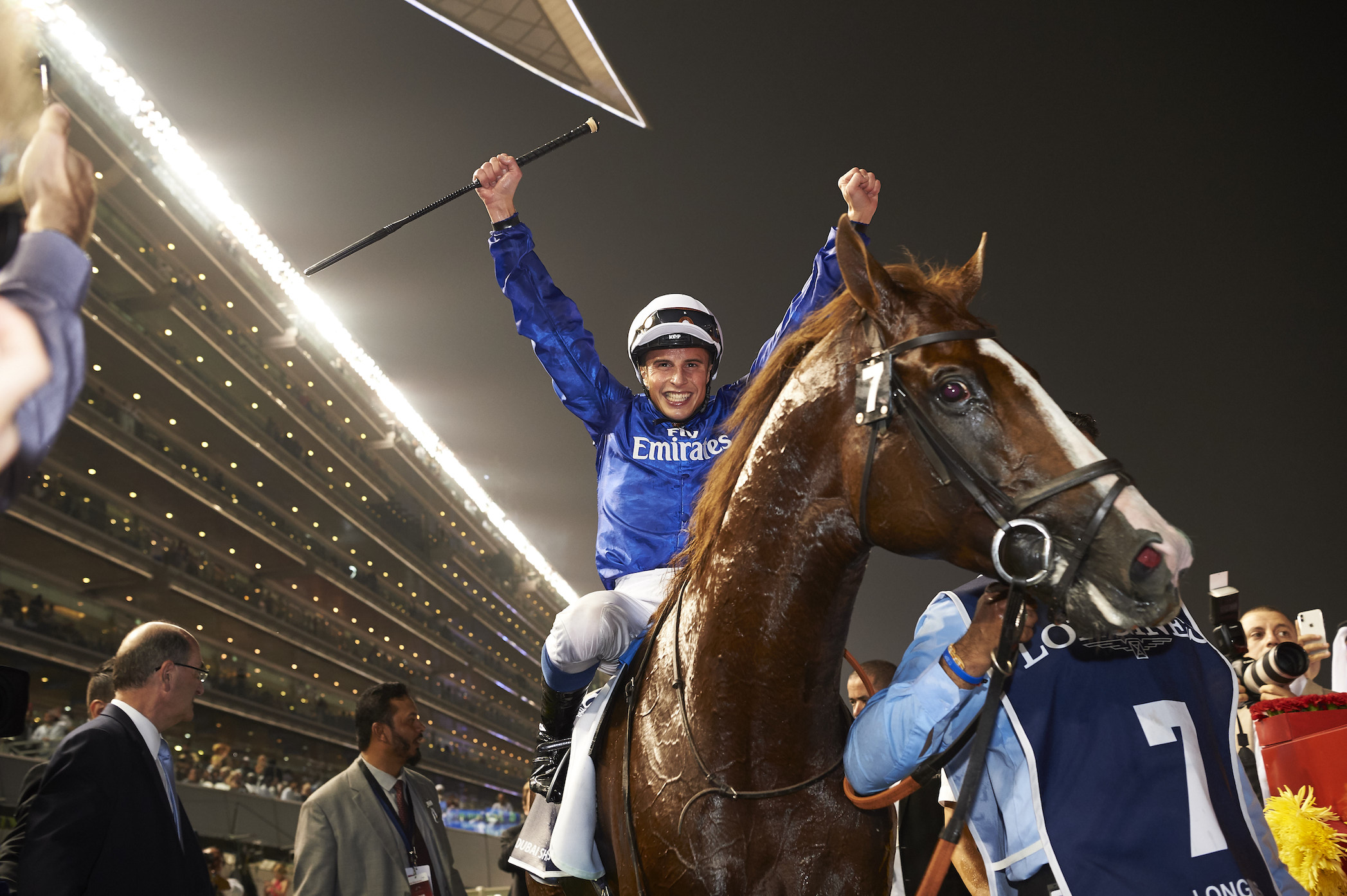 Hawkbill's stirring victory under William Buick in the $6 million Dubai Sheema Classic was the second of the night for Godolphin trainer Charlie Appleby. Photo: Dubai Racing Club