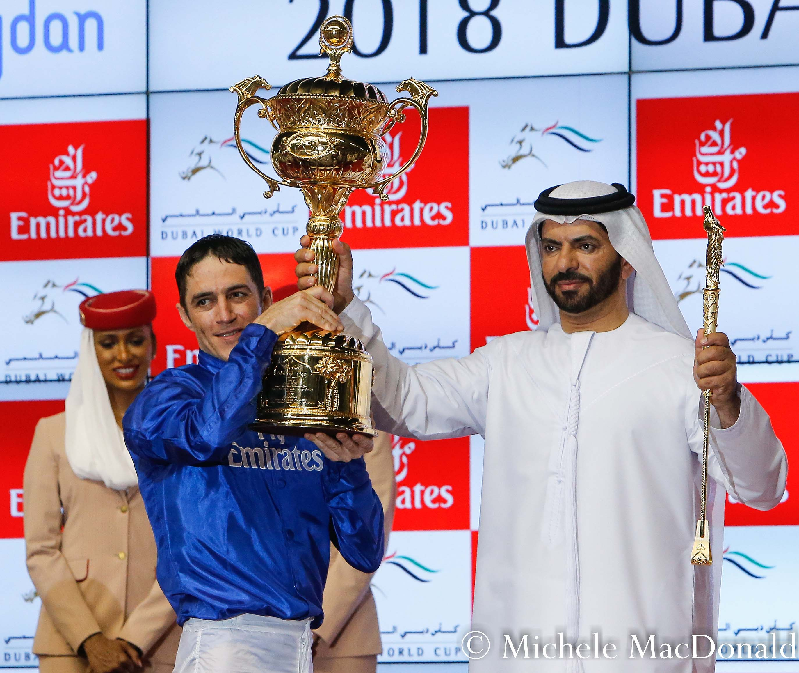 Christophe Soumillon and Saeed Bin Suroor with the Dubai World Cup trophy on Saturday. They will be hoping to get their hands on another prestigious trophy at Churchill Downs in November. Photo: Michele MacDonald