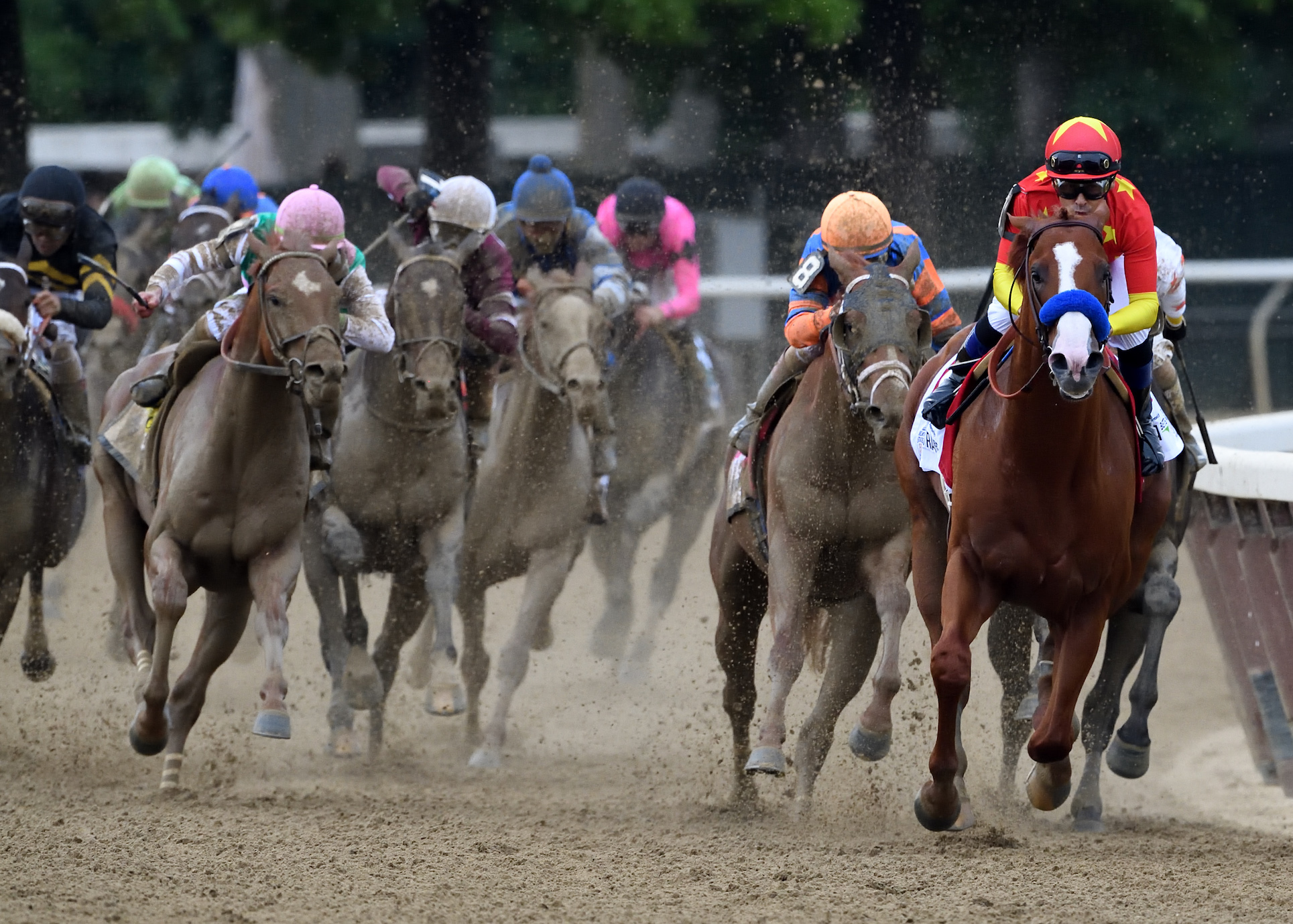 In charge: Mike Smith and Justify are still poised and in full control entering the stretch as the other runners struggle desperately to try to challenge. Photo: Rob Mauhar/NYRA.com