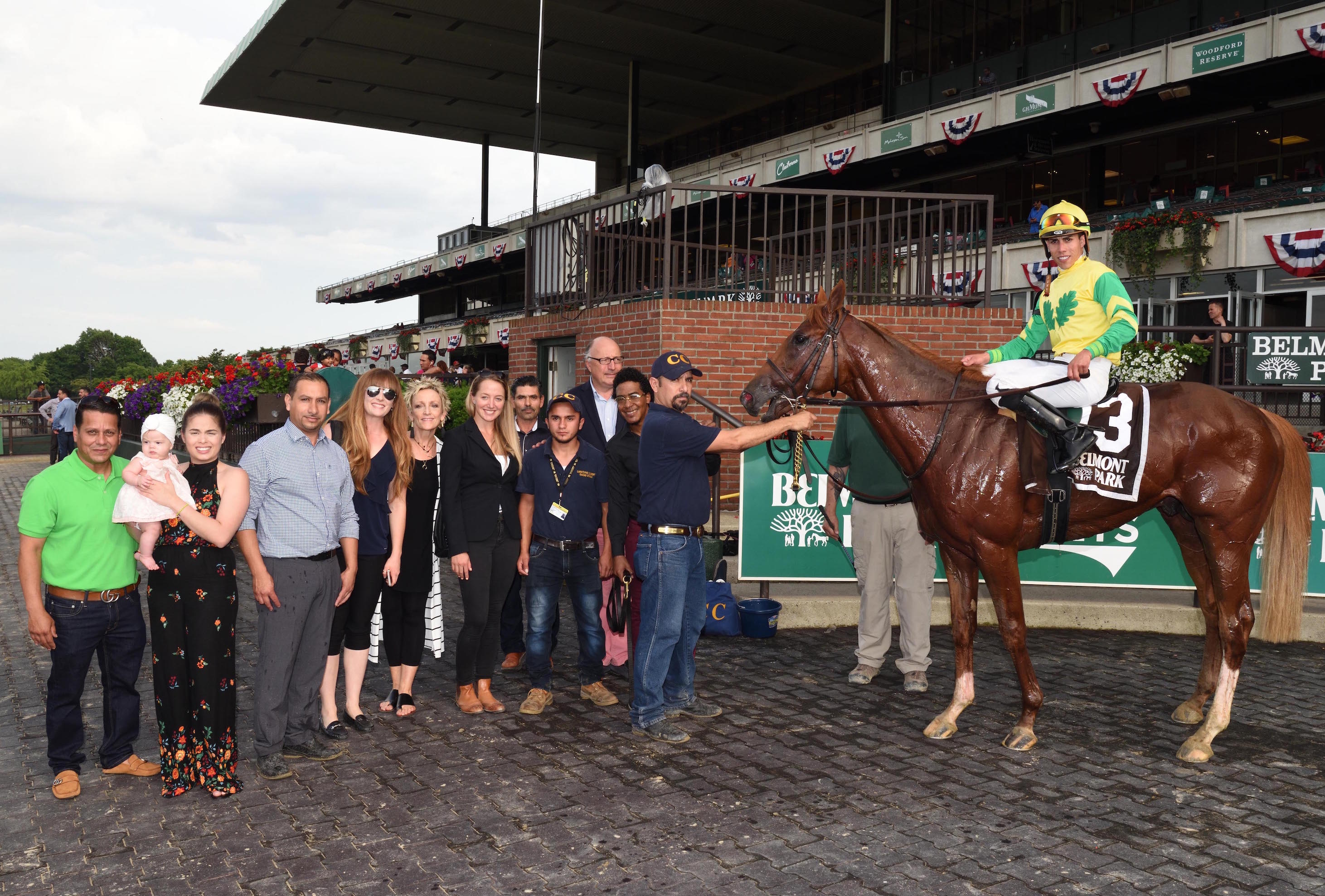 Winning team: Therapist (Irad Ortiz Jr) with his delighted entourage after winning the Stallion Stakes Series Spectacular Bid Division at Belmont Park. Photo: Adam Coglianese/NYRA.com