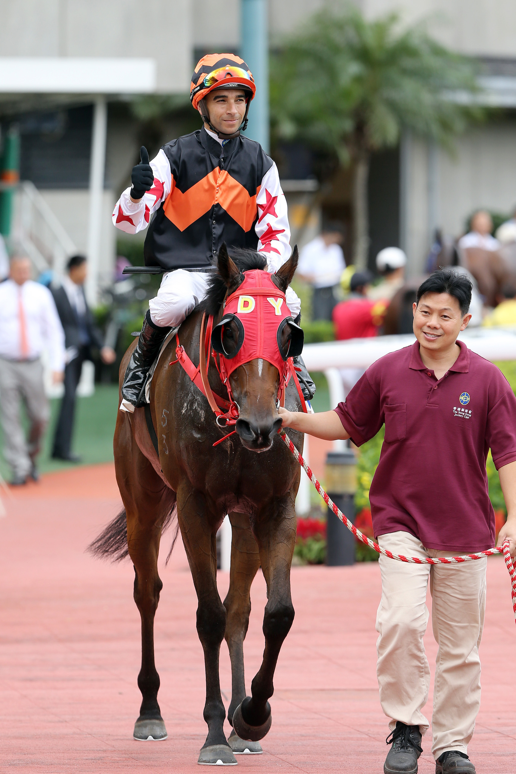 Joao Moreira after competing his four-timer at Sha Tin yesterday aboard the Dennis Yip-trained Winning Controller. Photo: Hong Kong Jockey Club