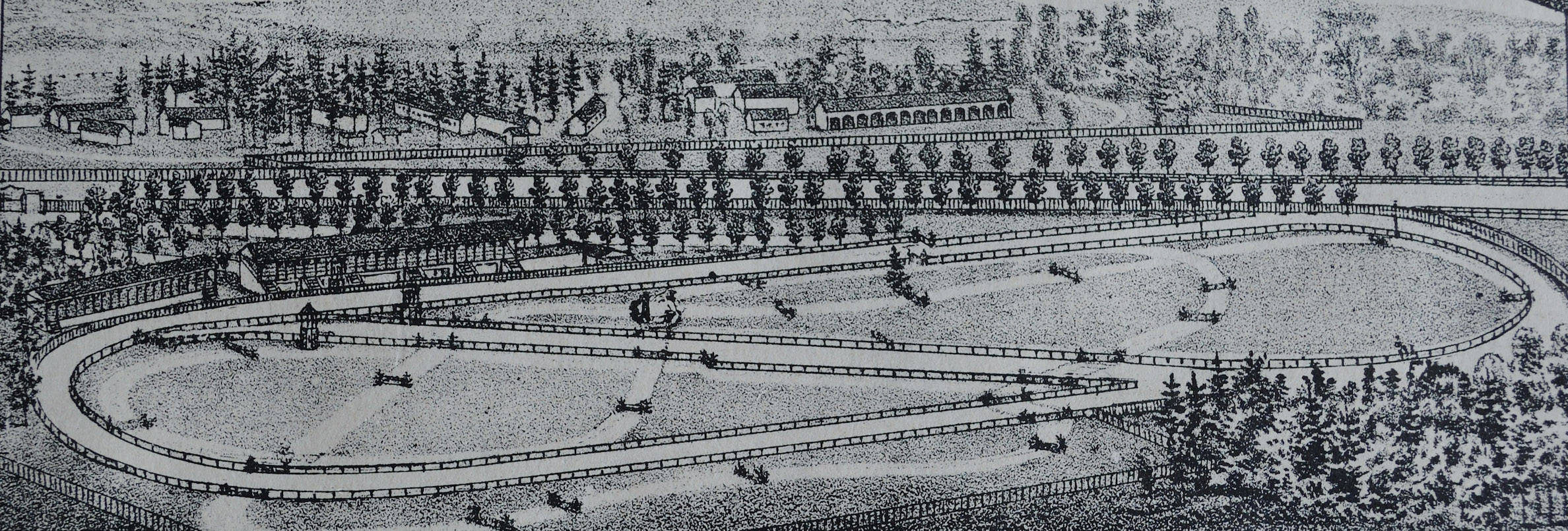 The 1864 circuit and grandstand, with Horse Haven beyond. Image courtesy of Saratoga Springs Public Library