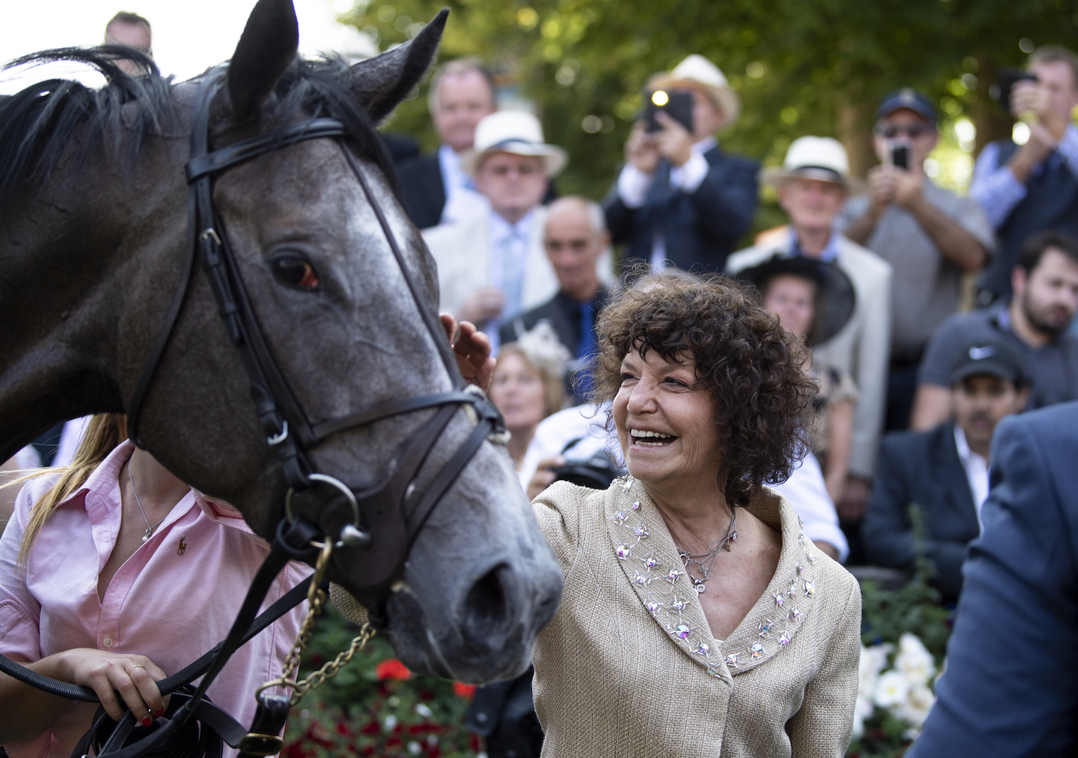 A thrill every time: Maria Niarchos-Gouazé and Alpha Centauri in the Newmarket winner's enclosure. Photo: Edward Whitaker/Racing Post