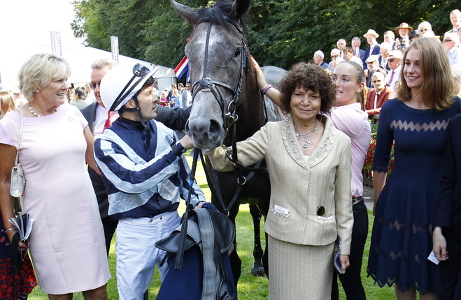 Maria Niarchos-Gouazé and Electra Niarchos (right) with Alpha Centauri, trainer Jessica Harrington and jockey Colm O'Donoghue after the filly's win in the Tattersalls Falmouth Stakes at Newmarket last week. Photo: Steve Davies/Racingfotos.com