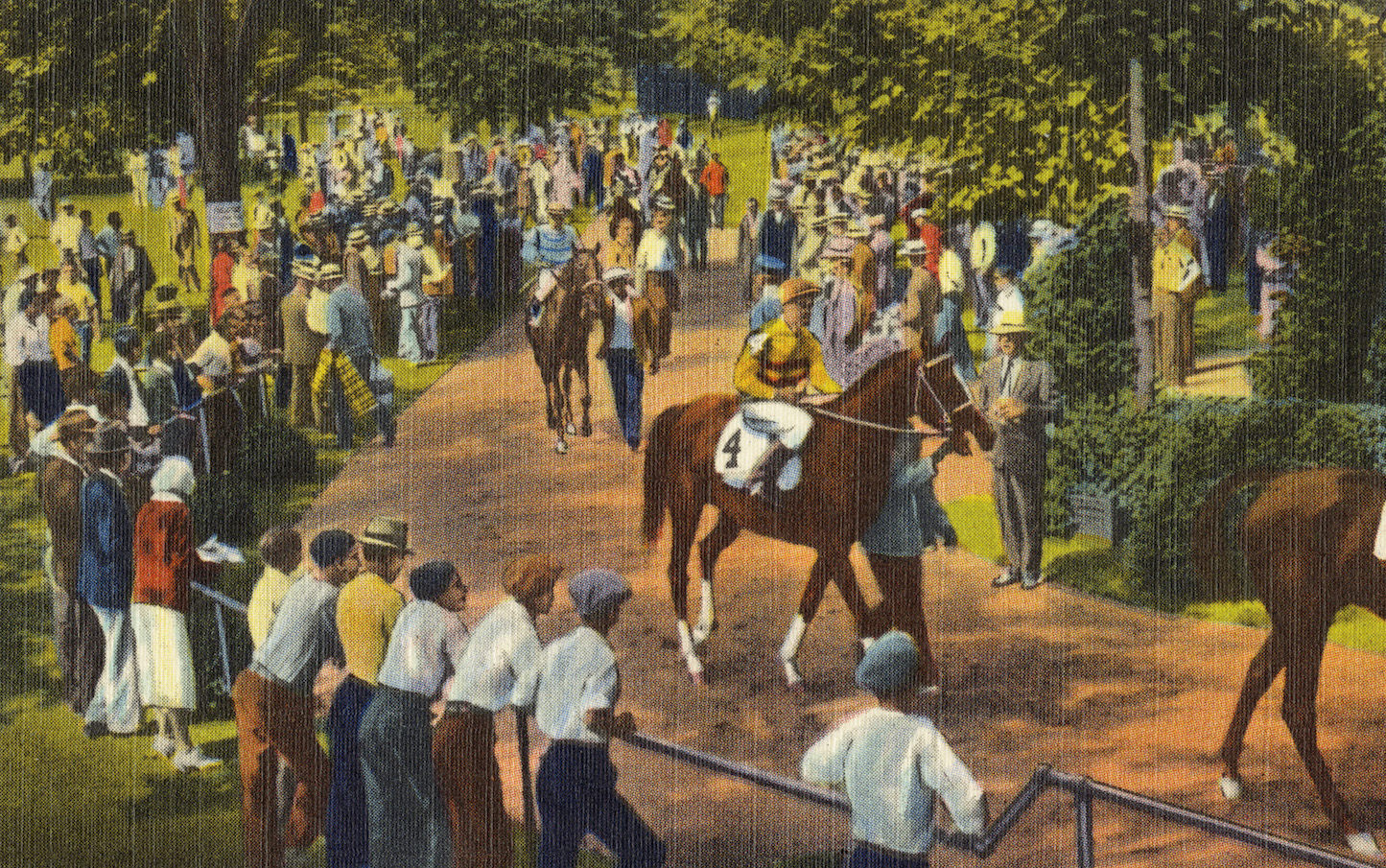 A parade from paddock to post along the back yard's meandering pathways. Image courtesy of Boston Public Library