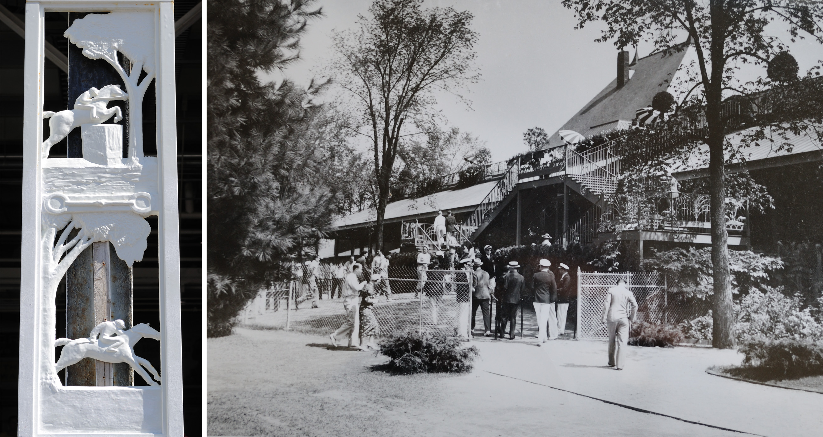 The betting ring, viewed from the back yard and the cast-iron decoration that it introduced. The image on the right is courtesy Saratoga Springs History Museum