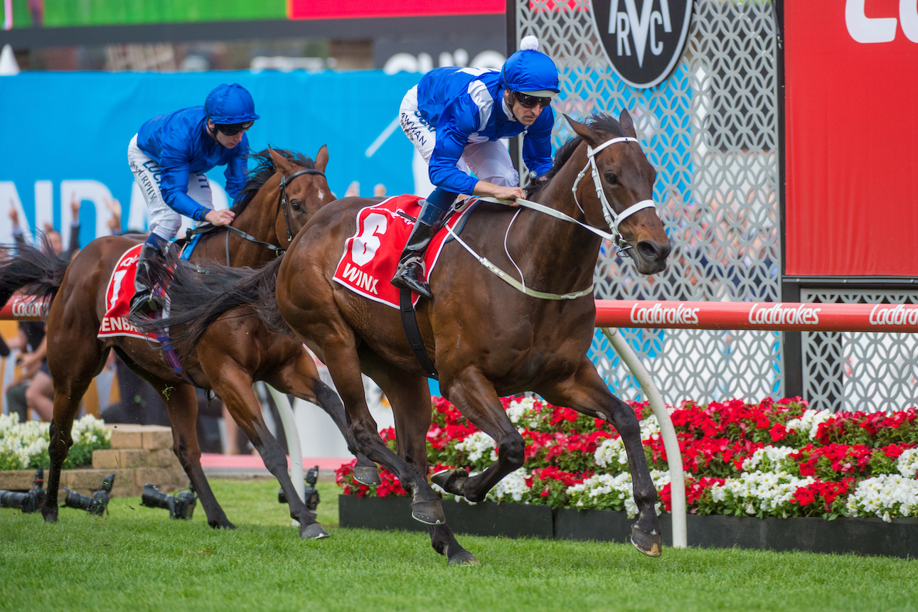 Just too good: Winx is comfortably in command ahead of Benbatl at the line. The crowd not only cheered her, they cheered the runner-up as well. Photo: Sharon Lee Chapman