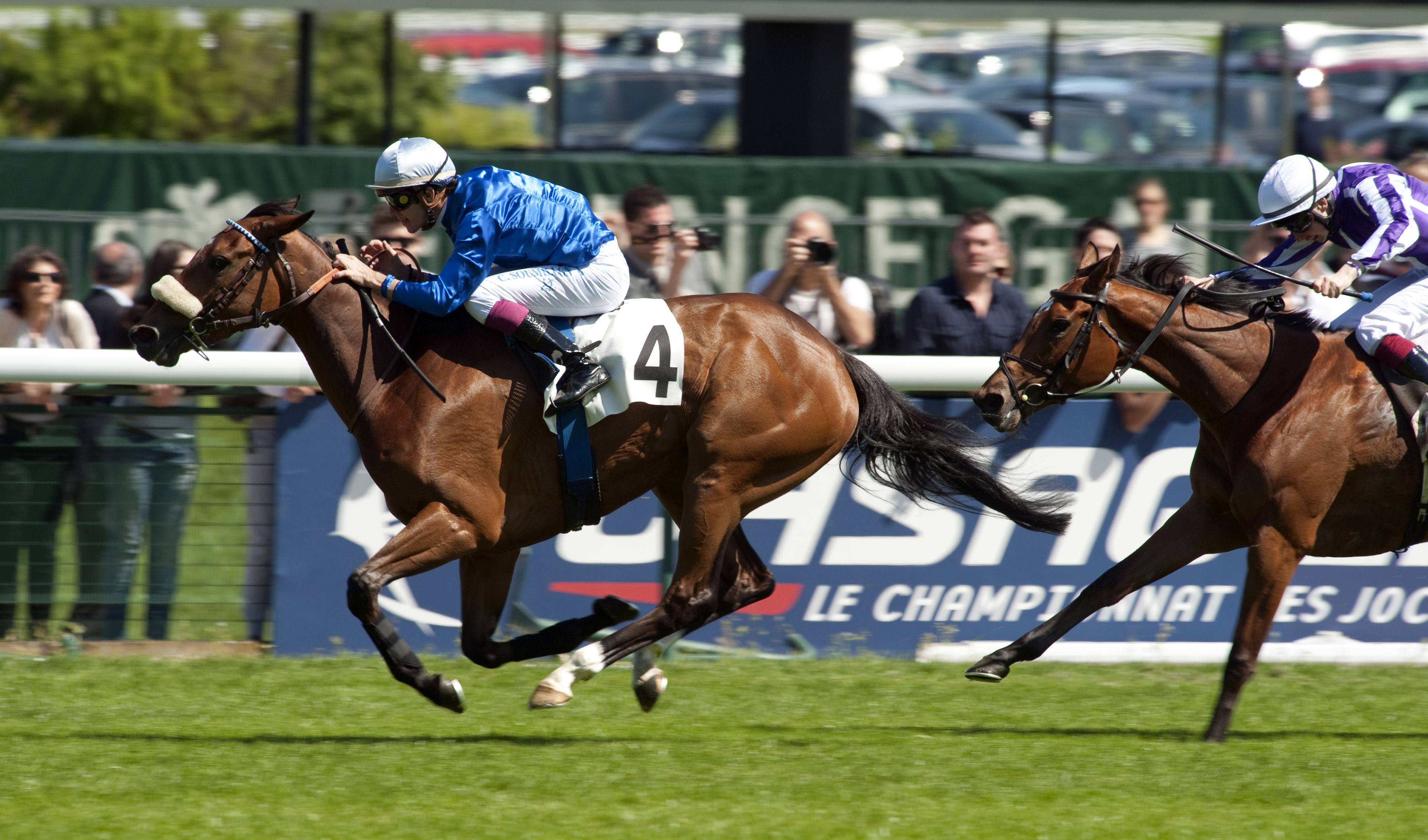 Beauty Parlour winning the 2012 Poules d'Essai des Pouliches at Longchamp