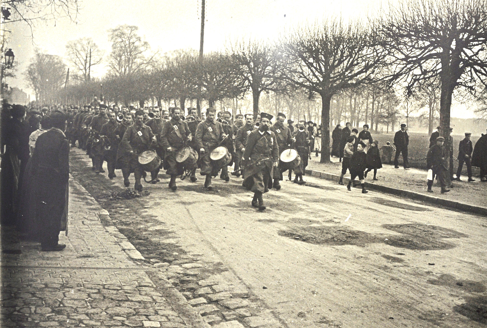 French Soldiers marching down down the Rue d'Aumale in Chantilly during late 1914. Photo provided by Sarah Gillois, who is responsible for history and culture at the town council