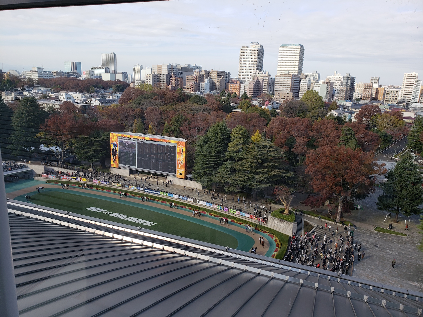 A view of the Tokyo paddock and it's giant tote board. Photo: Bob Ehalt