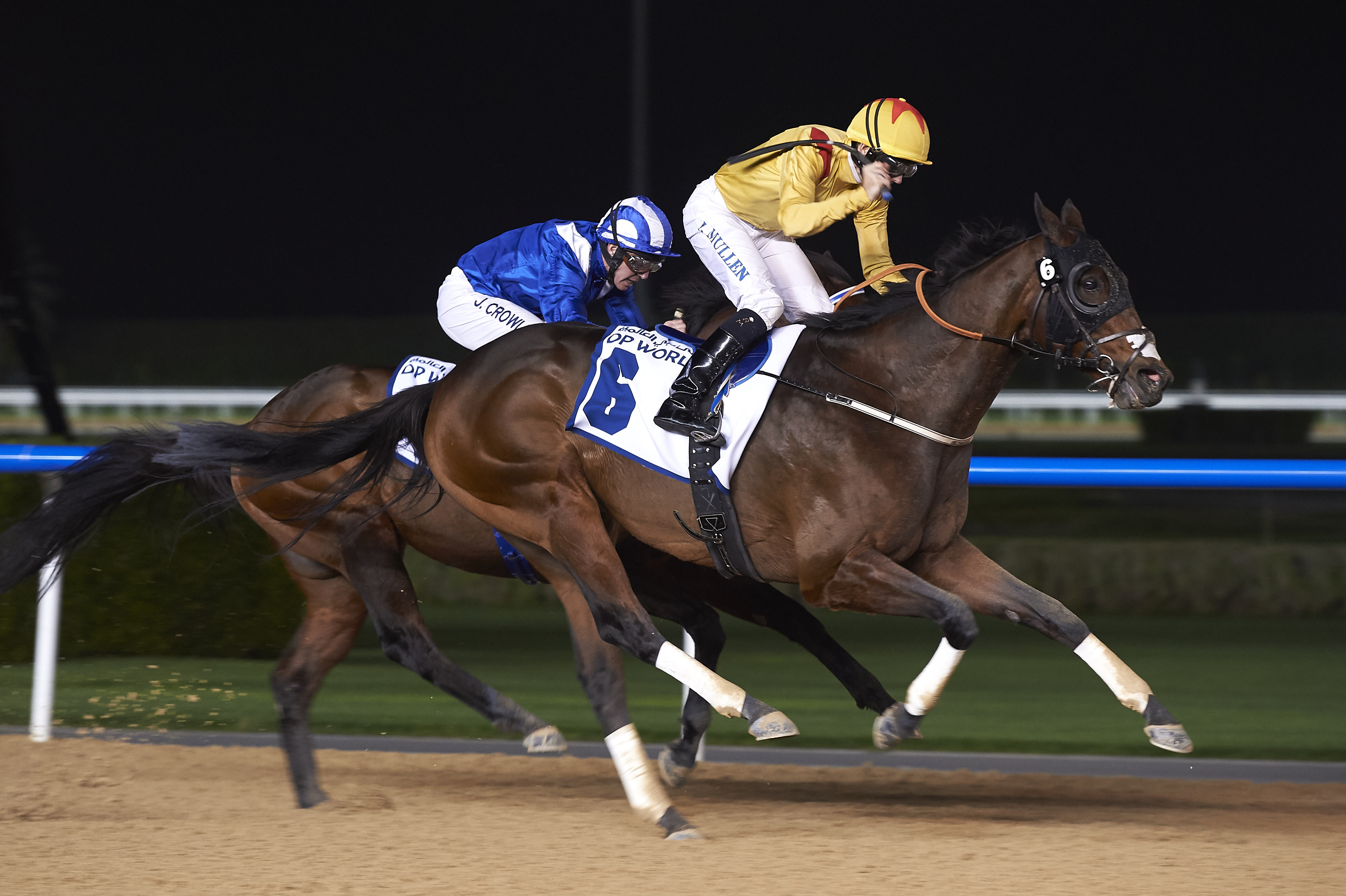 Reynaldothewizard, ridden by Richar Mullen, shows his class with a win in the Dubawi Stakes on the dirt at Meydan during the Dubai Carnival in January 2017. Picture: Andrew Watkins/Dubai Racing Club