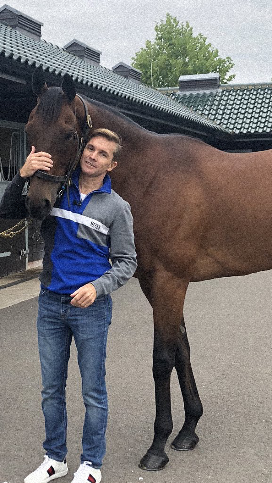 Reunited: Richard Mullen with Reynaldothewizard in Newmarket. Picture: Richard Mullen