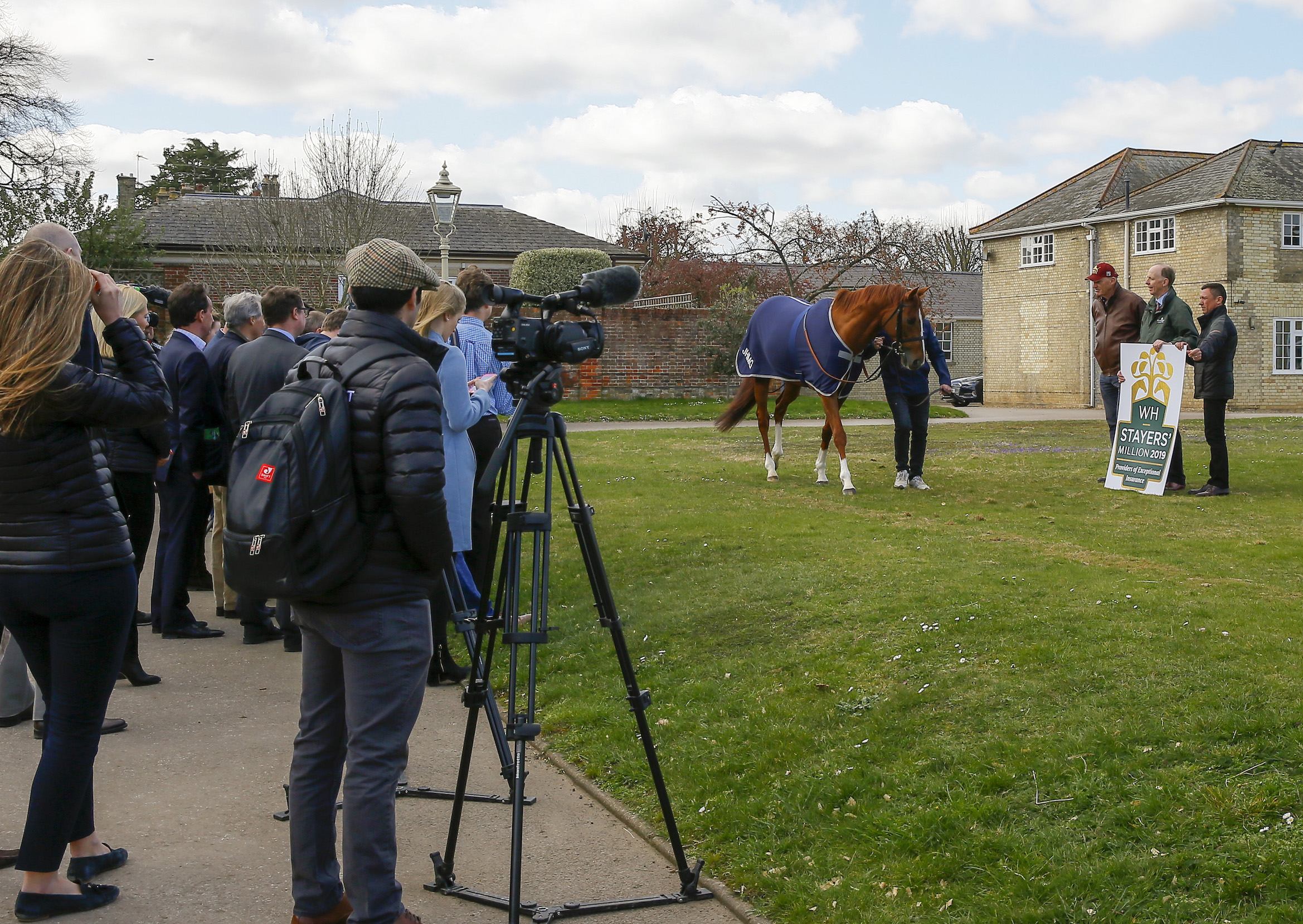 Star attraction: the media were out in force to meet the horse who won the WH Stayers' Million in 2018 and will be bidding to do it again this year. Photo: Weatherbys Hamilton