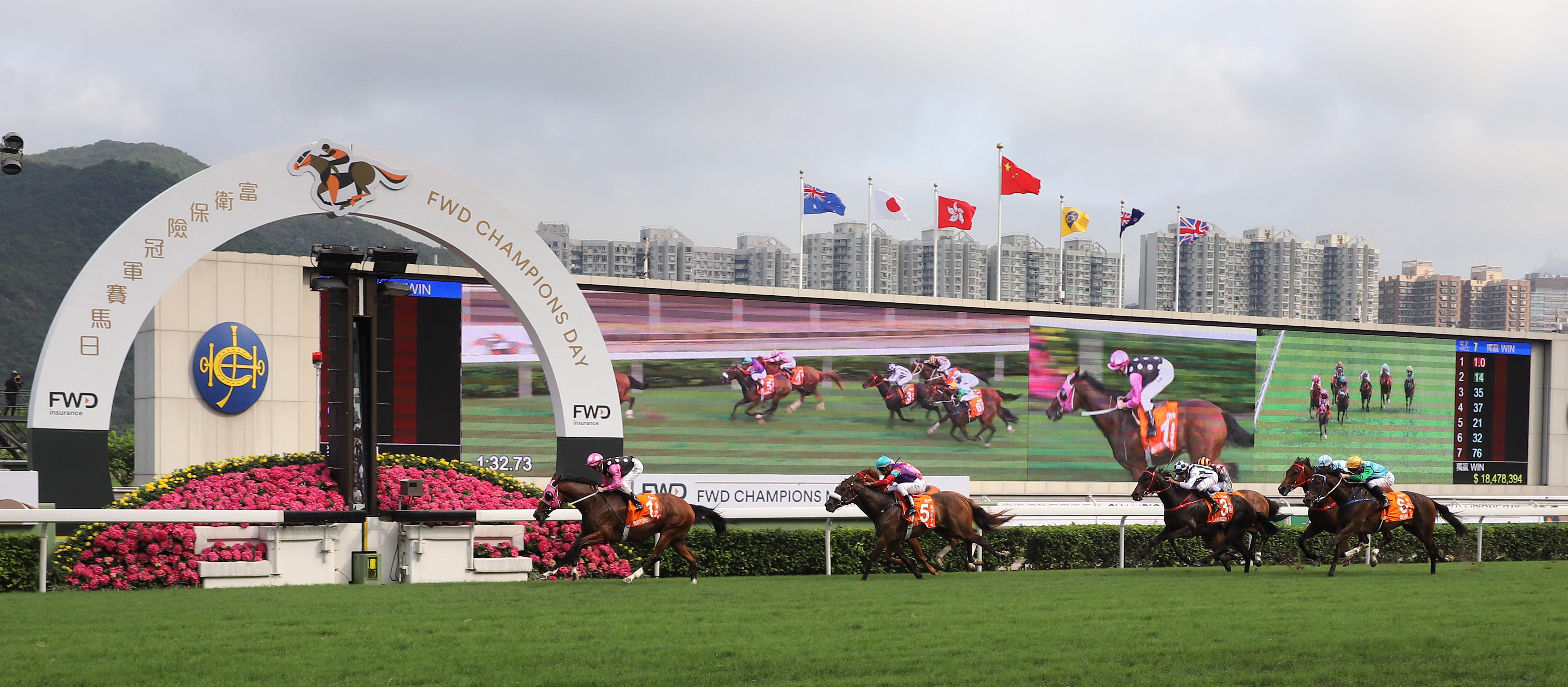 Different class: Beauty Generation (Zac Purton) saunters home clear after putting the rest of the field to the sword in the G1 Champions Mile. Photo: Hong Kong Jockey Club