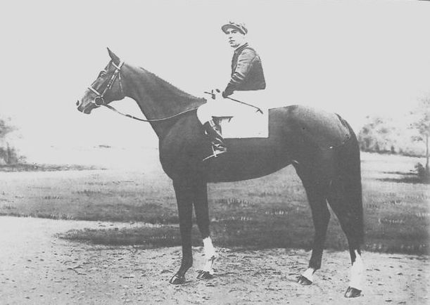 Marcel Boussac's dual Arc winner Corrida, who was killed at stud during the Falaise Gap battle. The jockey is Charlie Elliott. Photo courtesy of Ostend racecourse