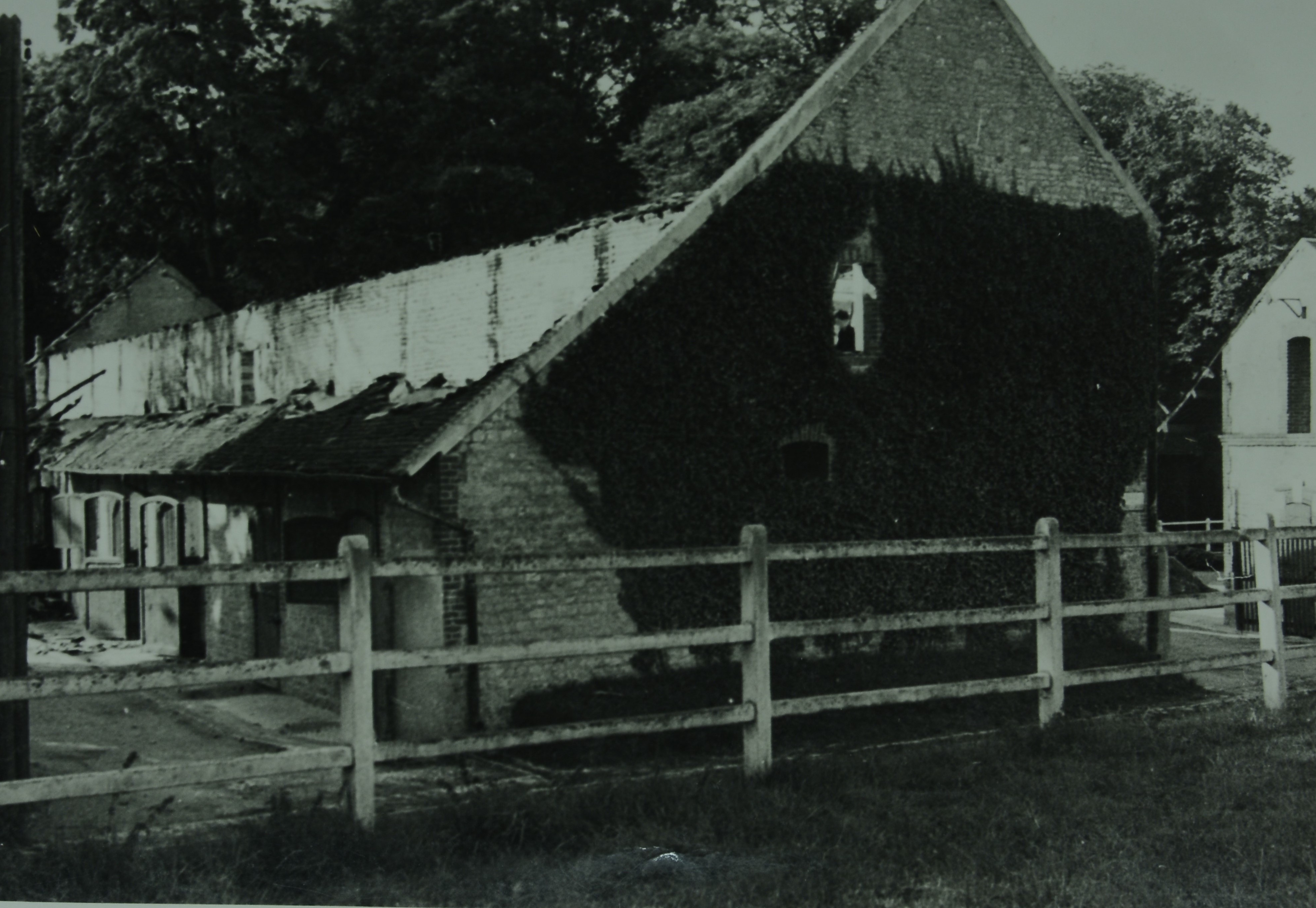 Part of Haras du Gazon after being hit by Allied bombs during the Falaise Gap battle. Photo courtesy of the Marie-Noelle Allart archives section for history and culture for the Orne region