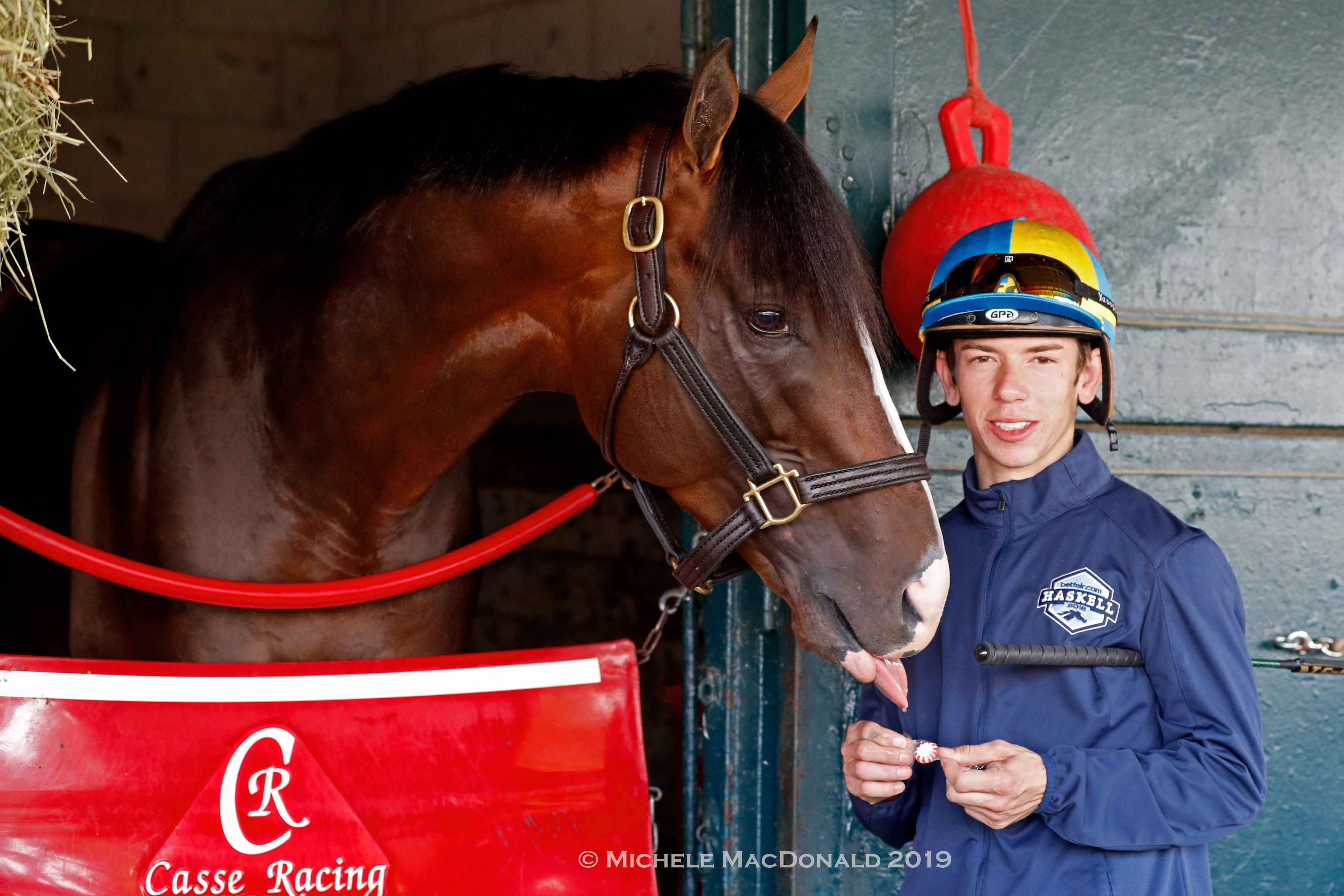 Tyler Gaffalione, War Of Will and some peppermints. Photo: Michele MacDonald