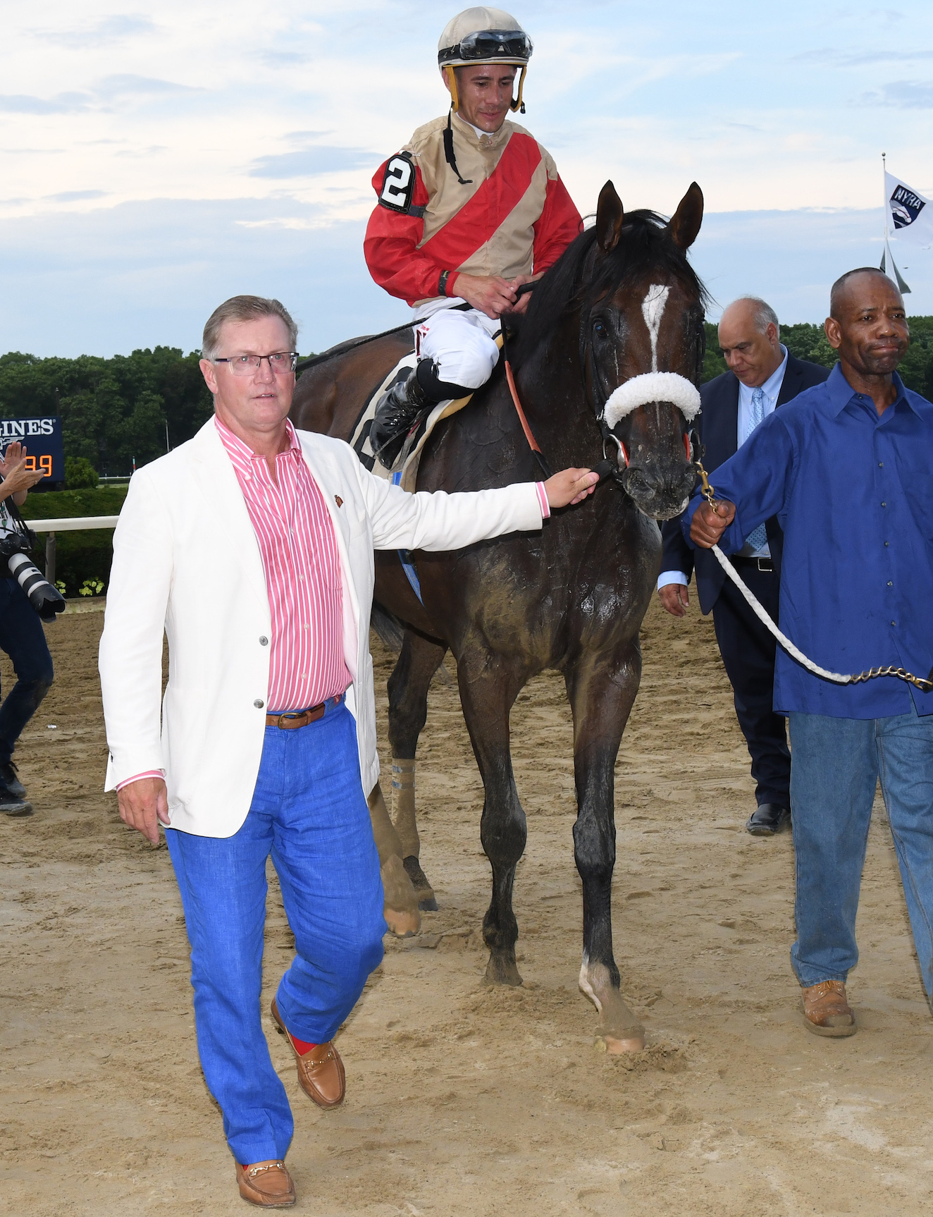 Don Little Jr leads Preservationist back to the winners' circle after landing the Suburban at Belmont. Photo: NYRA.com